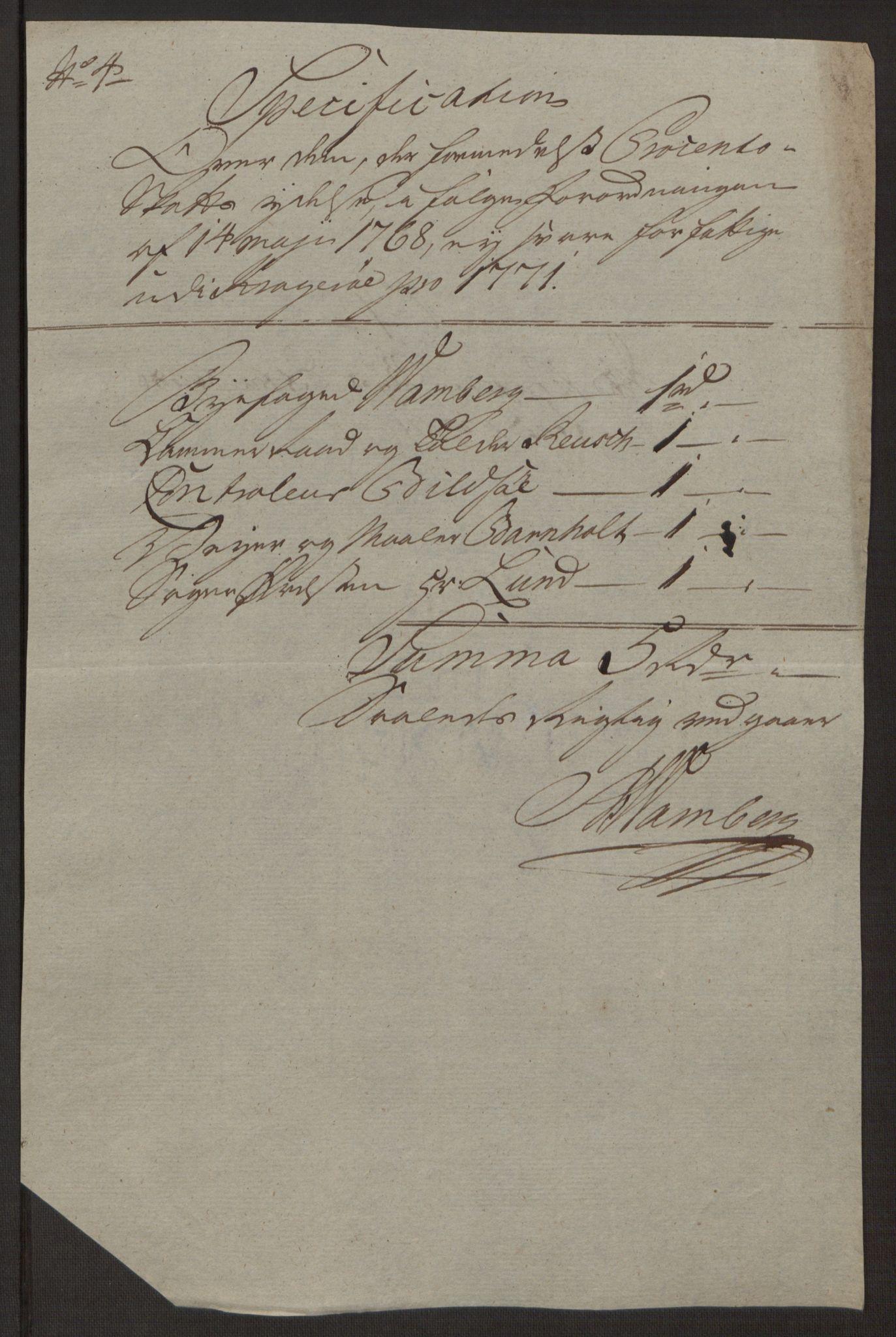 RA, Rentekammeret inntil 1814, Reviderte regnskaper, Byregnskaper, R/Rk/L0218: [K2] Kontribusjonsregnskap, 1768-1772, s. 75