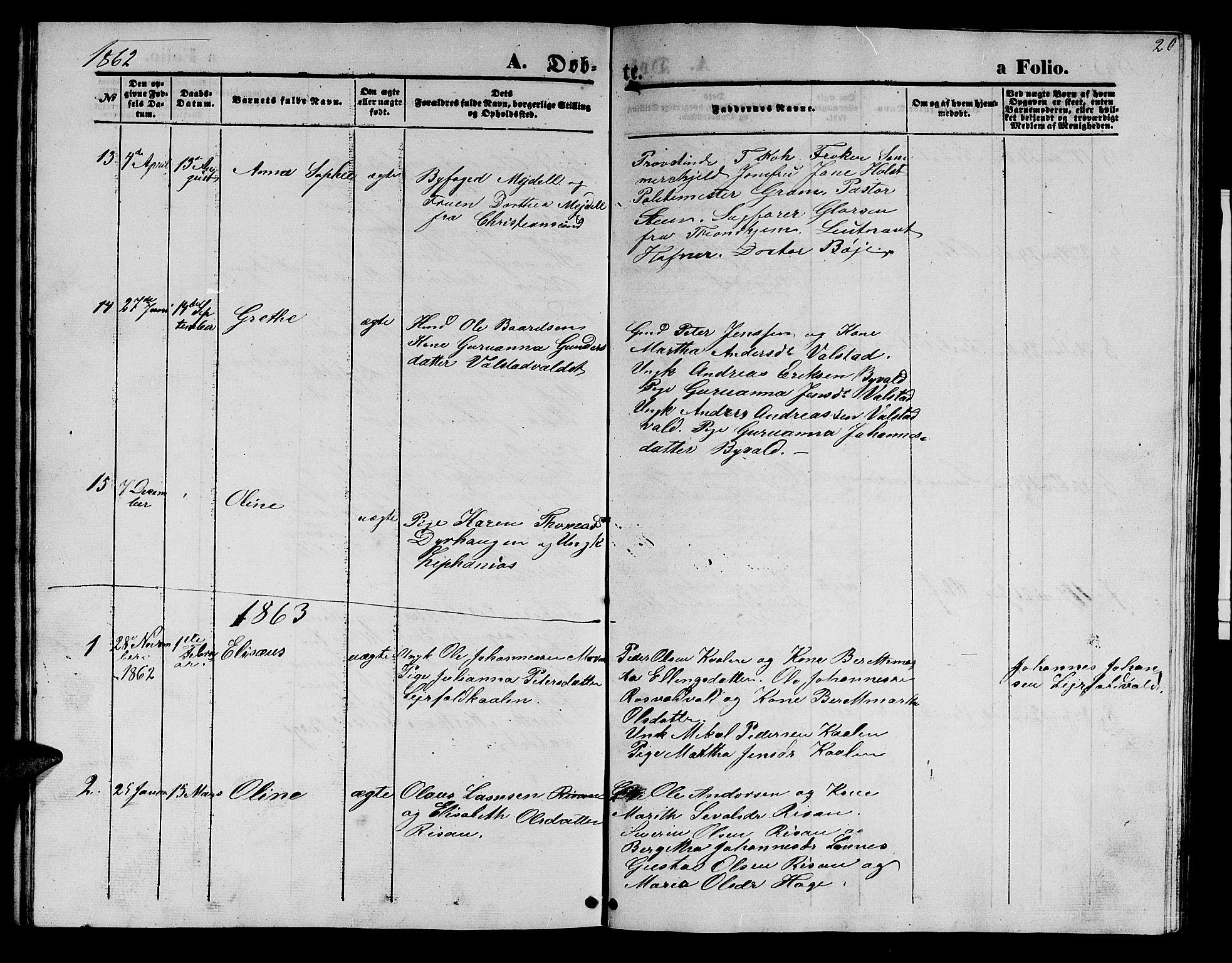 SAT, Ministerialprotokoller, klokkerbøker og fødselsregistre - Nord-Trøndelag, 726/L0270: Klokkerbok nr. 726C01, 1858-1868, s. 20