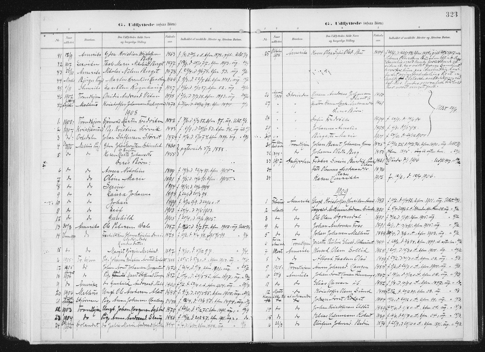 SAT, Ministerialprotokoller, klokkerbøker og fødselsregistre - Sør-Trøndelag, 647/L0635: Ministerialbok nr. 647A02, 1896-1911, s. 323