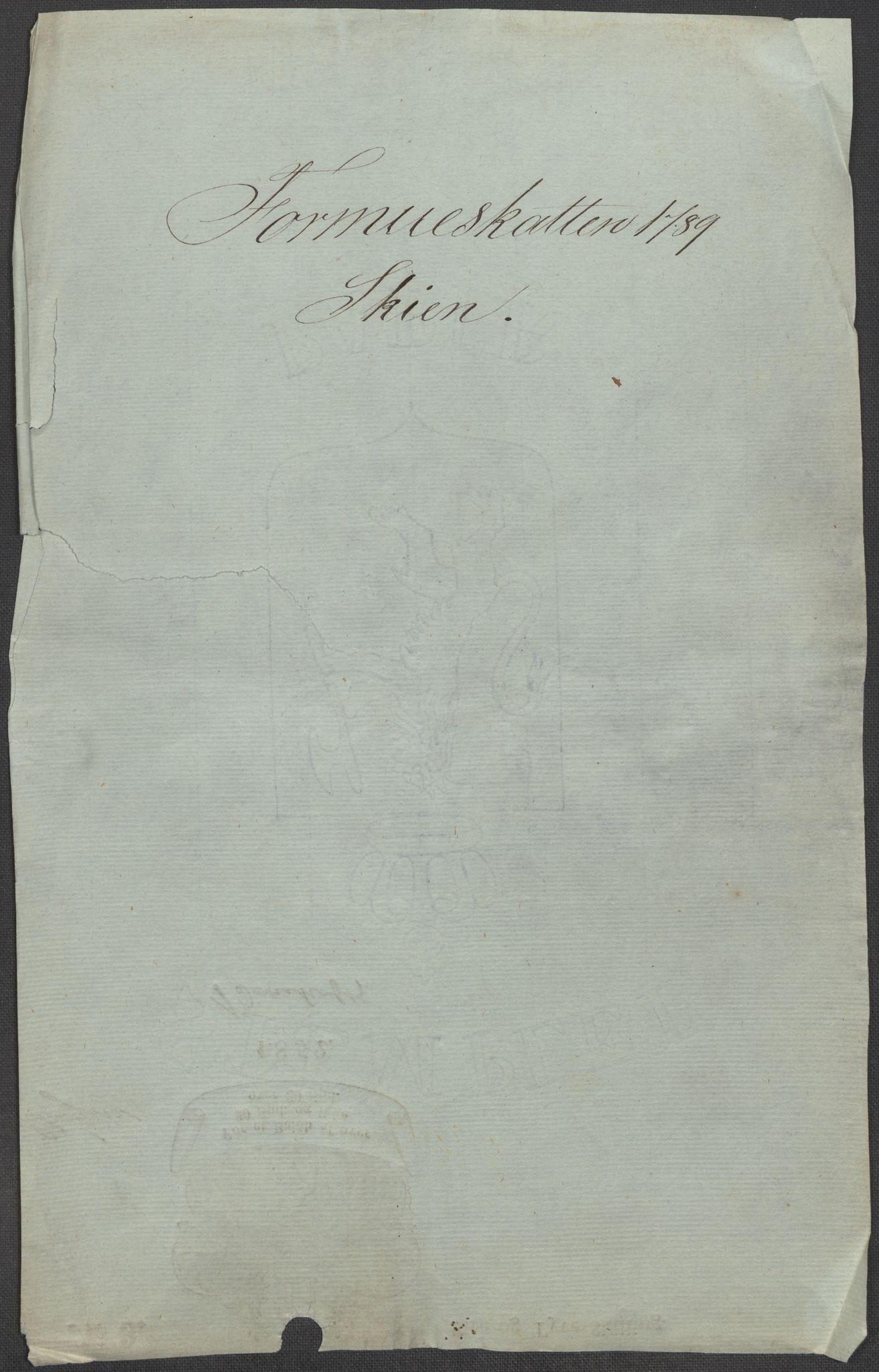 RA, Rentekammeret inntil 1814, Reviderte regnskaper, Mindre regnskaper, Rf/Rfe/L0043: Skien, Solør og Odalen fogderi, 1789, s. 3
