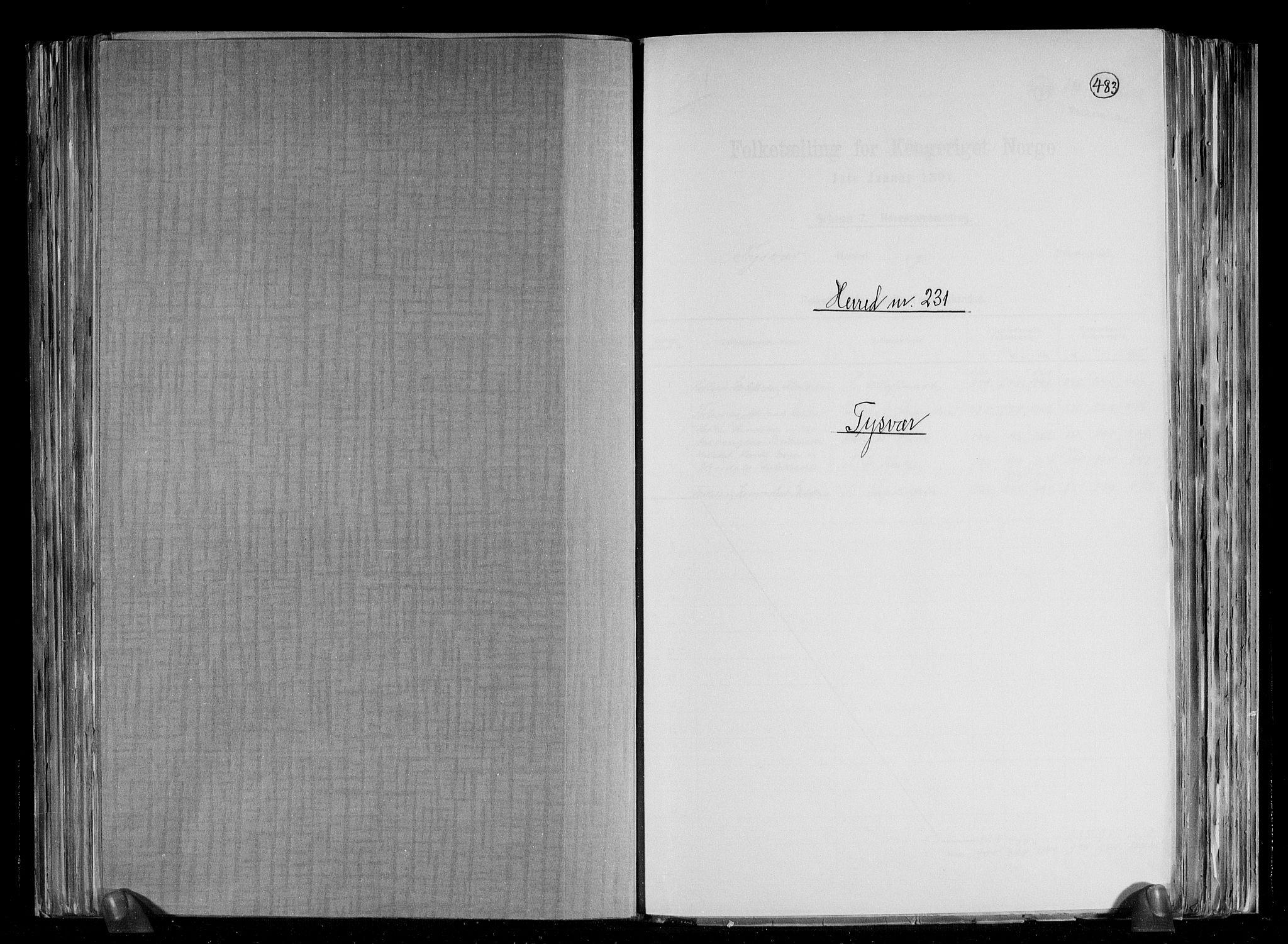 RA, Folketelling 1891 for 1146 Tysvær herred, 1891, s. 1