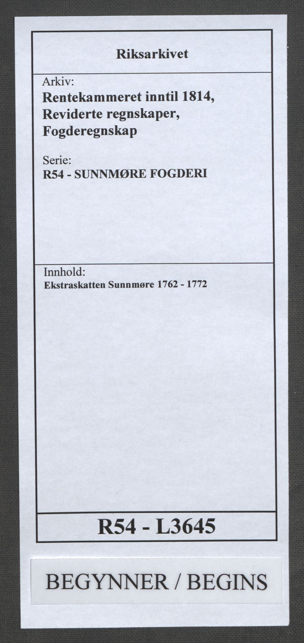 RA, Rentekammeret inntil 1814, Reviderte regnskaper, Fogderegnskap, R54/L3645: Ekstraskatten Sunnmøre, 1762-1772, s. 1