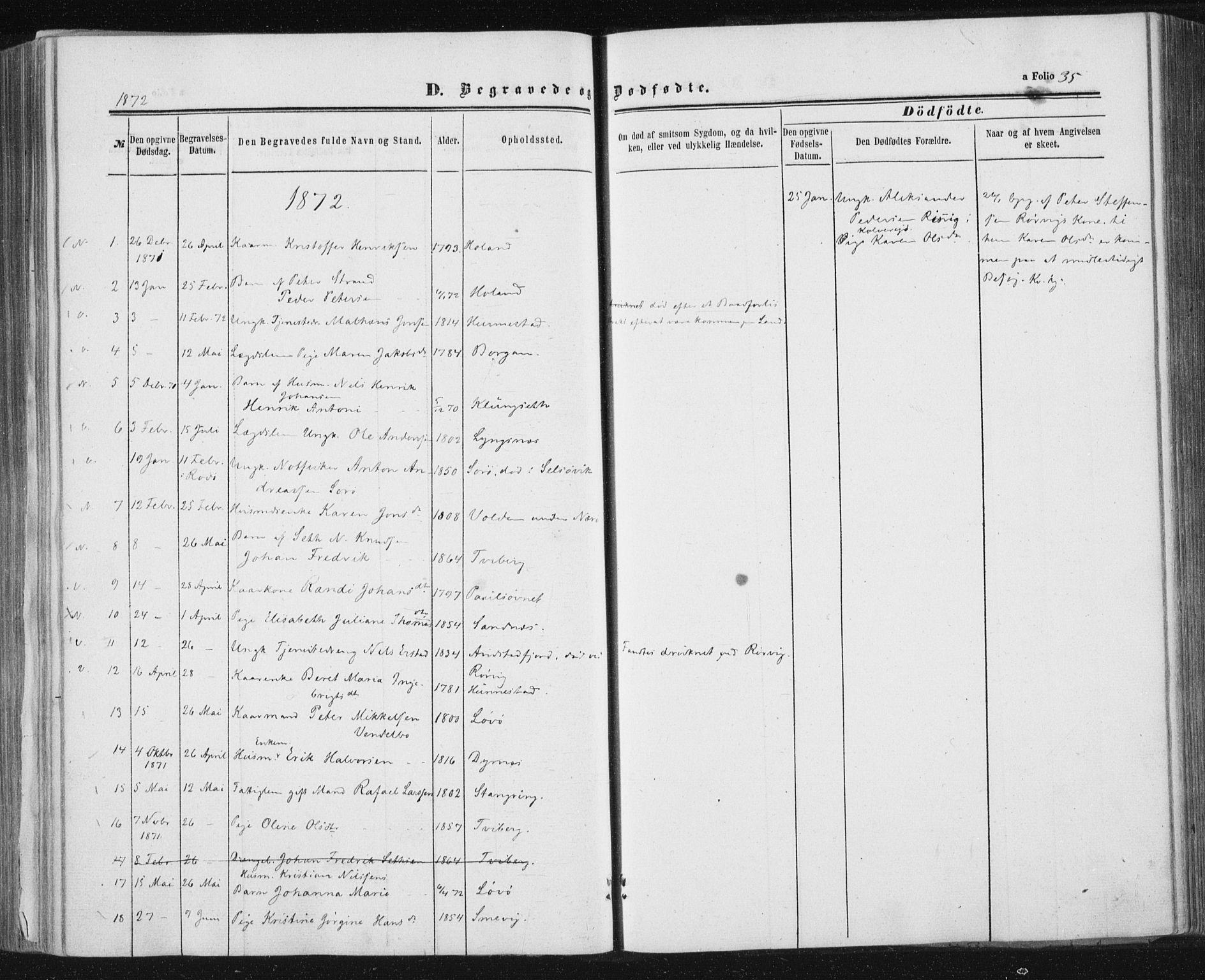 SAT, Ministerialprotokoller, klokkerbøker og fødselsregistre - Nord-Trøndelag, 784/L0670: Ministerialbok nr. 784A05, 1860-1876, s. 35