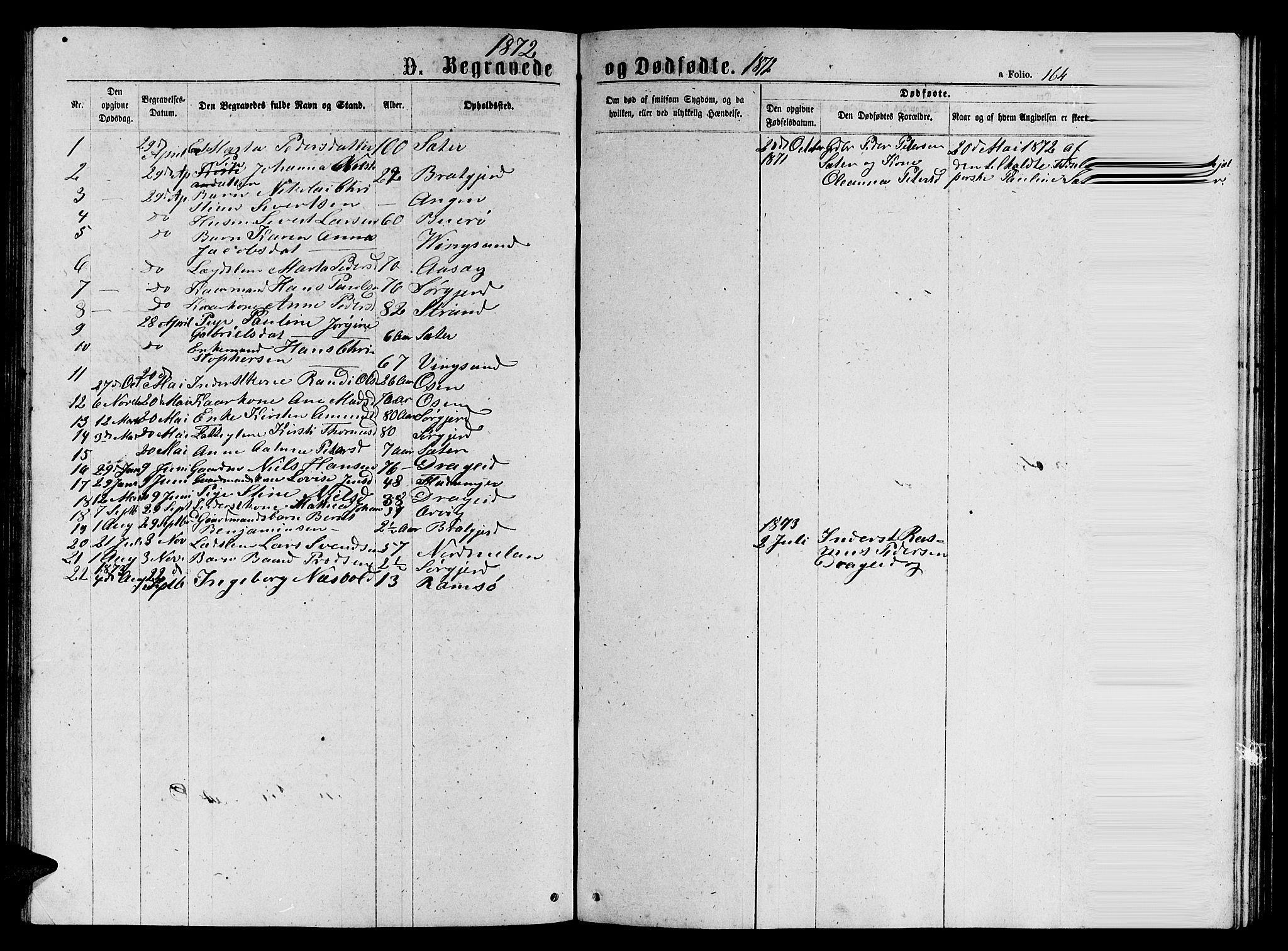 SAT, Ministerialprotokoller, klokkerbøker og fødselsregistre - Sør-Trøndelag, 658/L0725: Klokkerbok nr. 658C01, 1867-1882, s. 164