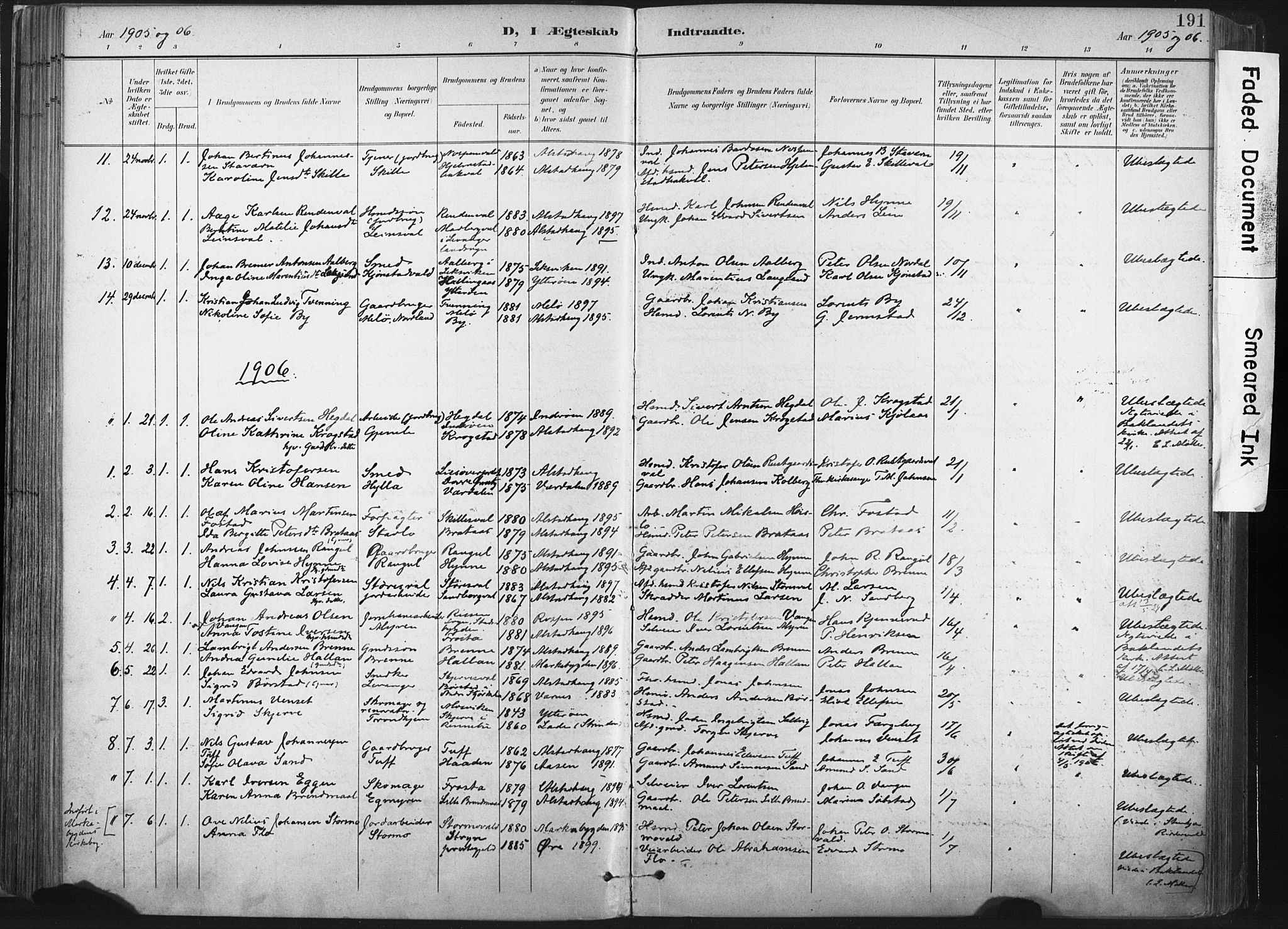 SAT, Ministerialprotokoller, klokkerbøker og fødselsregistre - Nord-Trøndelag, 717/L0162: Ministerialbok nr. 717A12, 1898-1923, s. 191