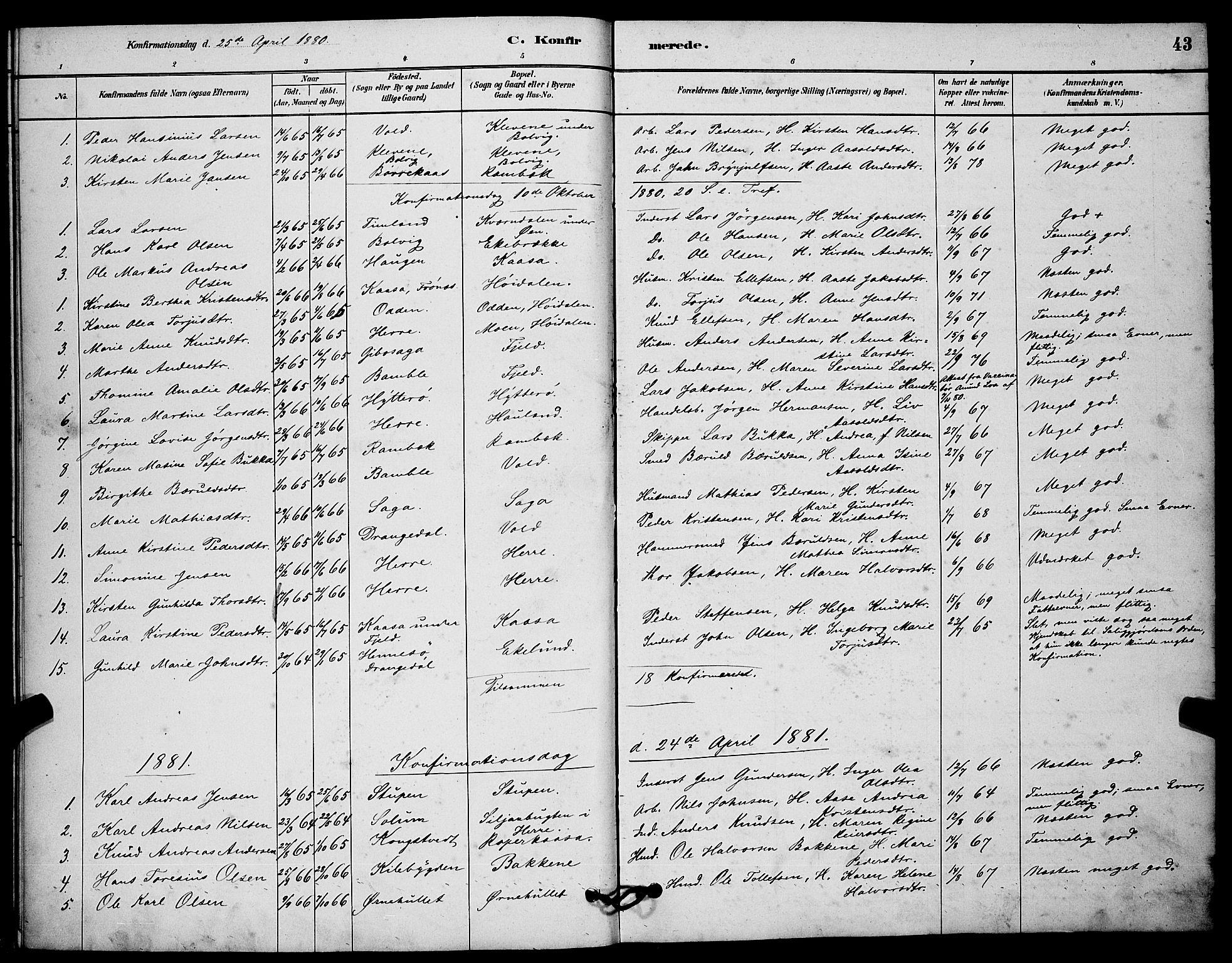 SAKO, Solum kirkebøker, G/Gc/L0001: Klokkerbok nr. III 1, 1880-1902, s. 43
