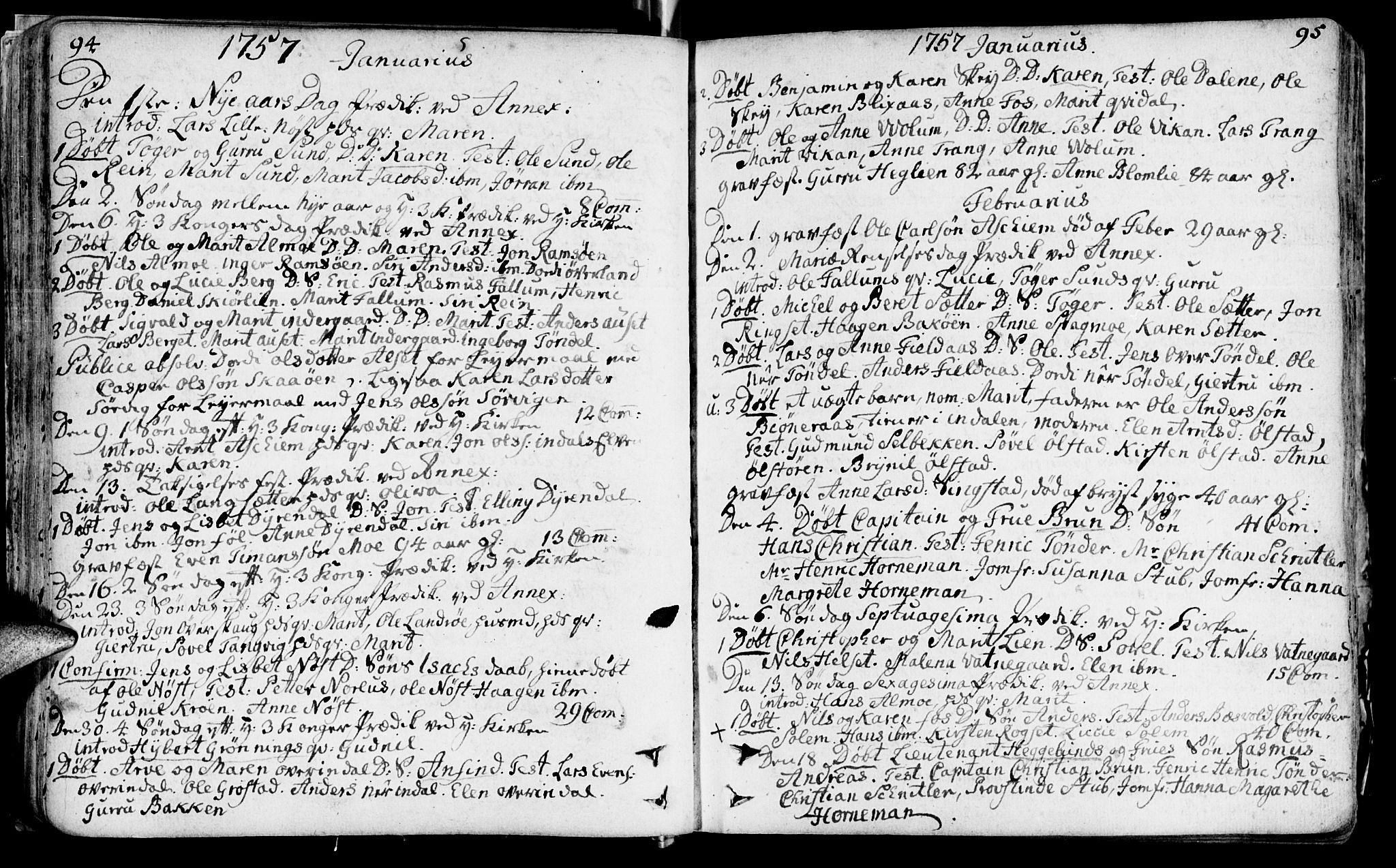 SAT, Ministerialprotokoller, klokkerbøker og fødselsregistre - Sør-Trøndelag, 646/L0605: Ministerialbok nr. 646A03, 1751-1790, s. 94-95
