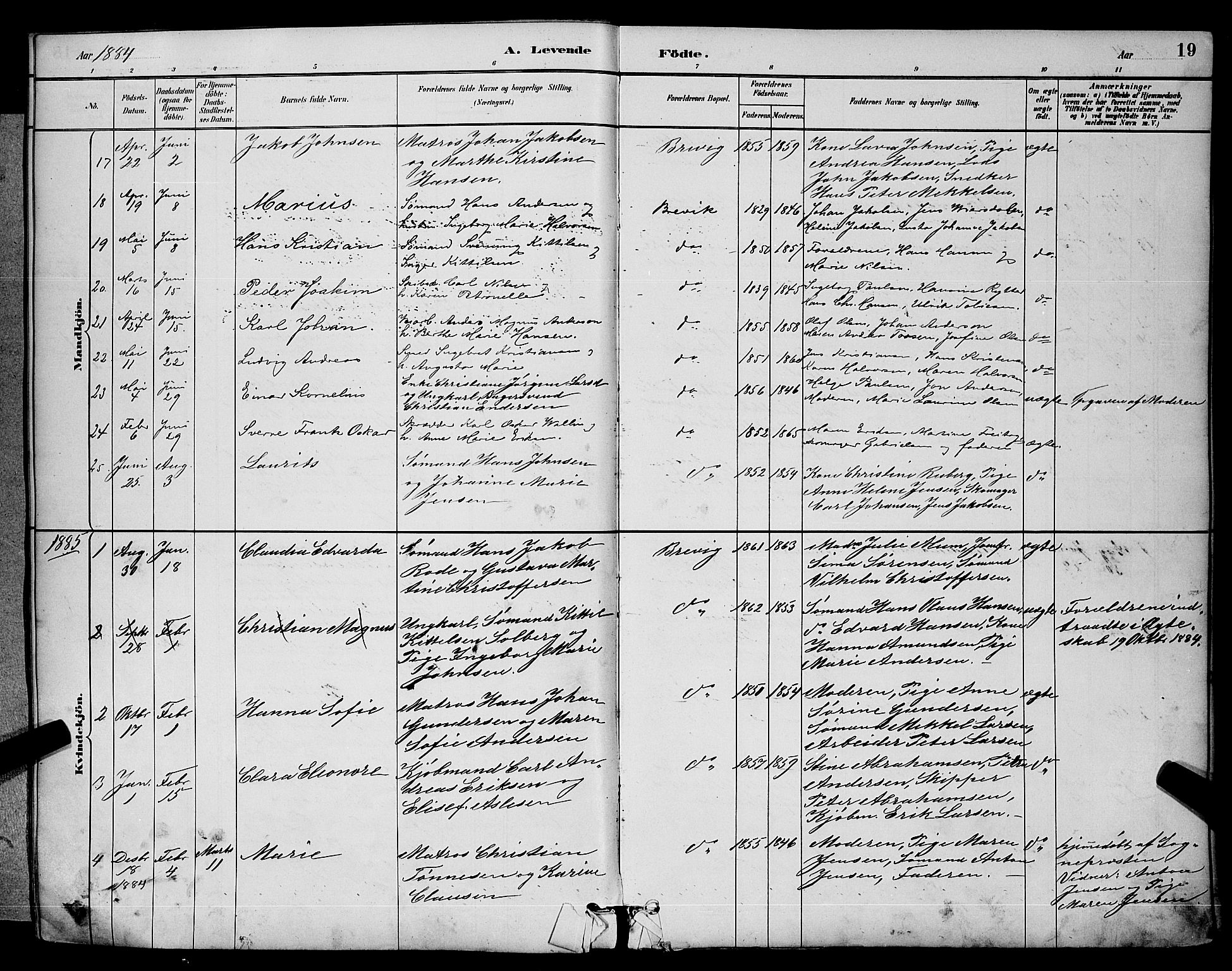 SAKO, Brevik kirkebøker, G/Ga/L0004: Klokkerbok nr. 4, 1882-1900, s. 19