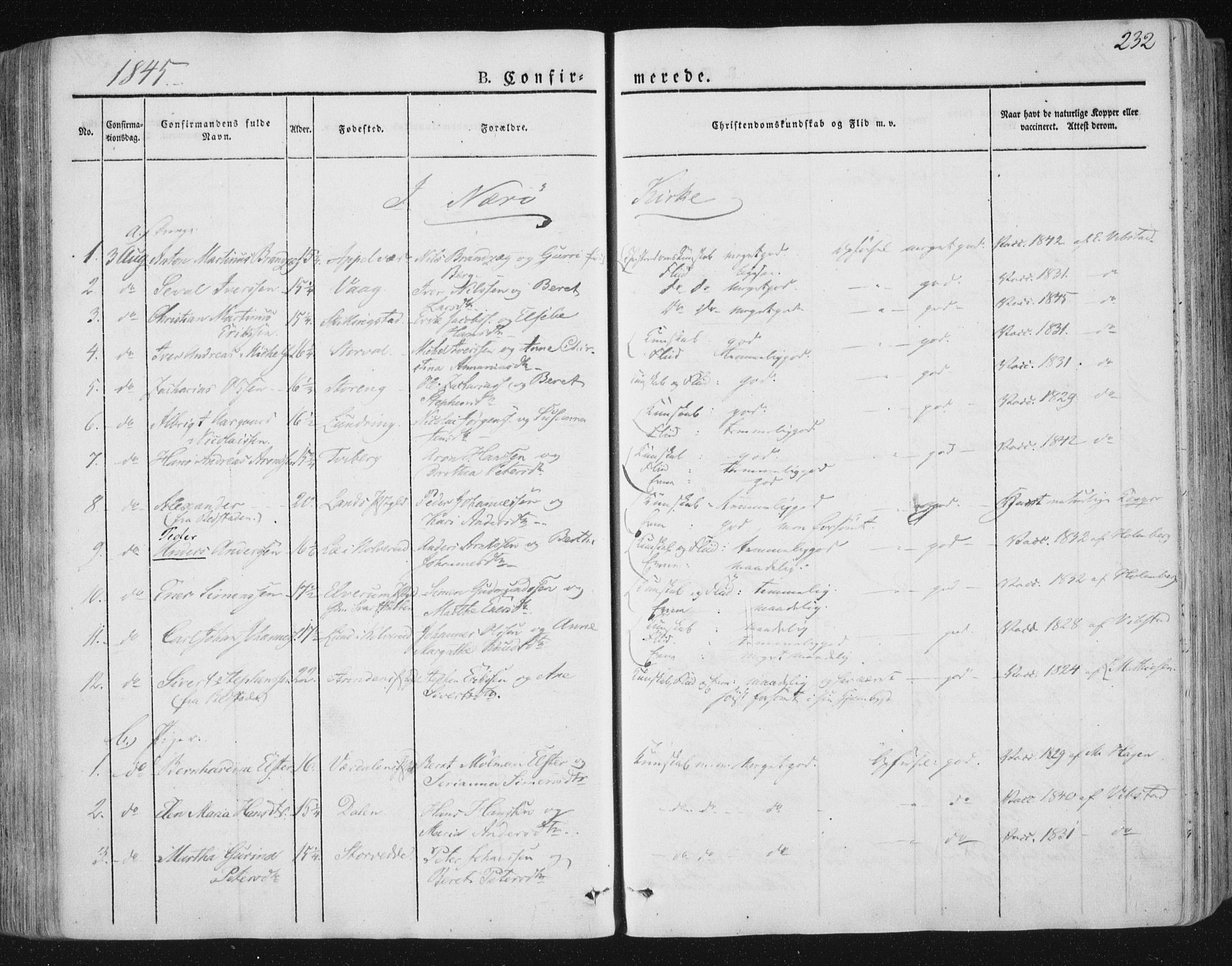 SAT, Ministerialprotokoller, klokkerbøker og fødselsregistre - Nord-Trøndelag, 784/L0669: Ministerialbok nr. 784A04, 1829-1859, s. 232