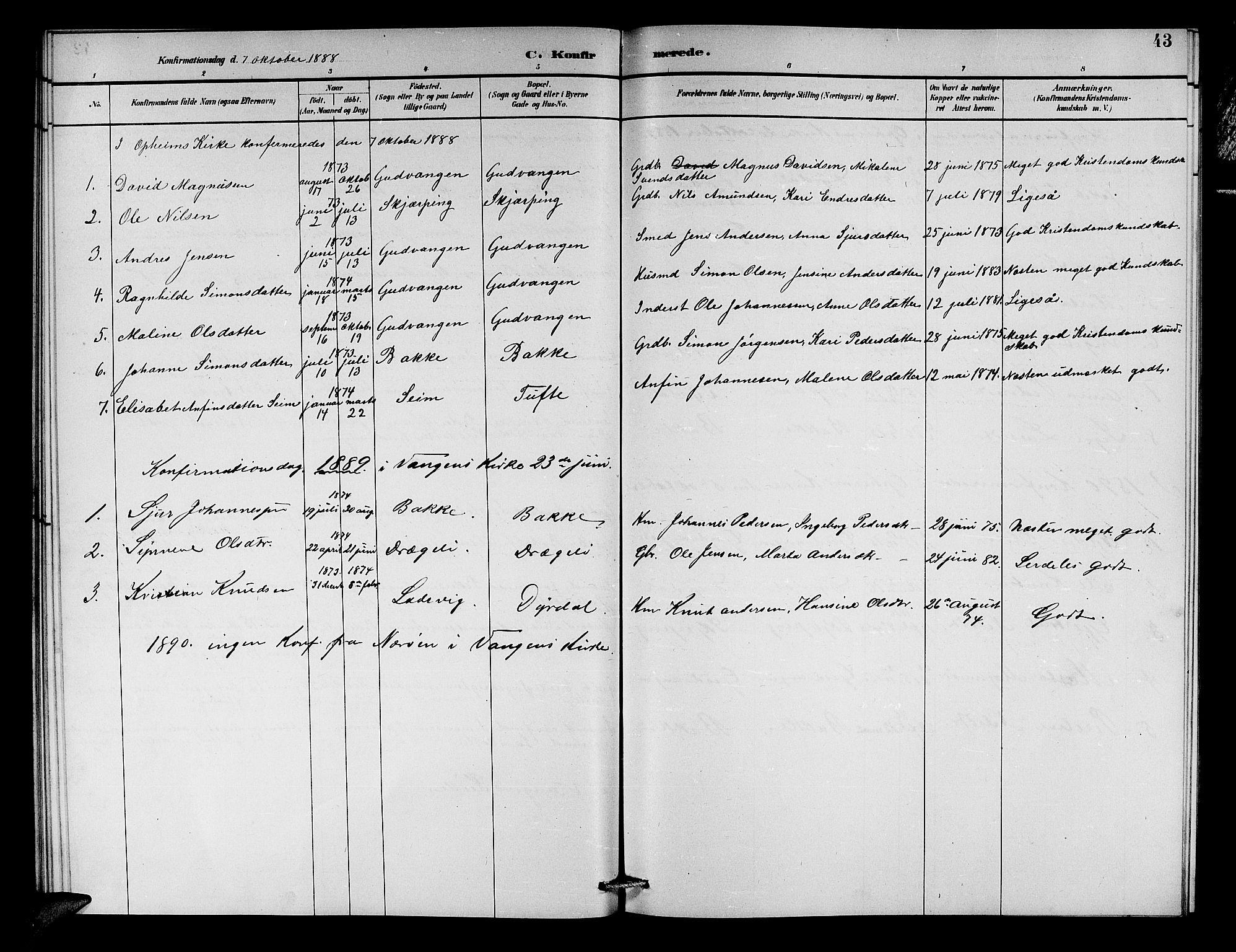SAB, Aurland Sokneprestembete*, Klokkerbok nr. C 2, 1883-1900, s. 43