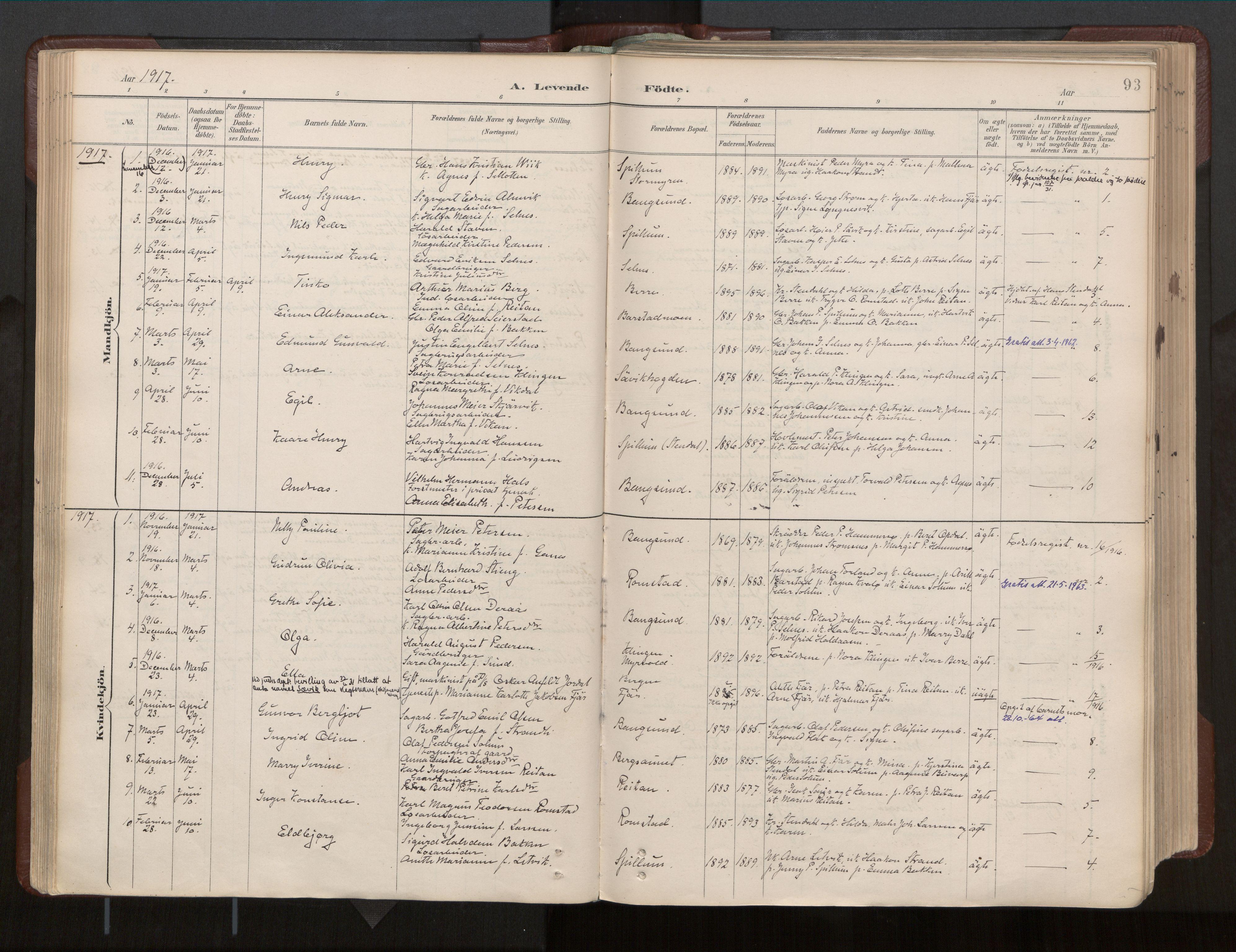 SAT, Ministerialprotokoller, klokkerbøker og fødselsregistre - Nord-Trøndelag, 770/L0589: Ministerialbok nr. 770A03, 1887-1929, s. 93