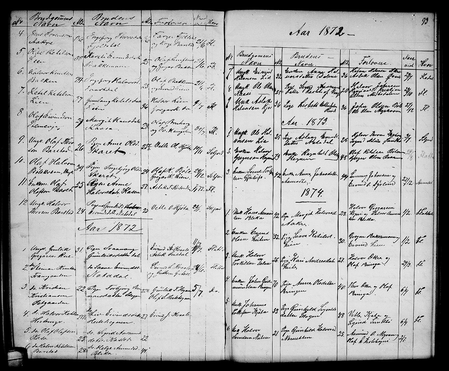SAKO, Seljord kirkebøker, G/Gb/L0003: Klokkerbok nr. II 3, 1863-1884, s. 93