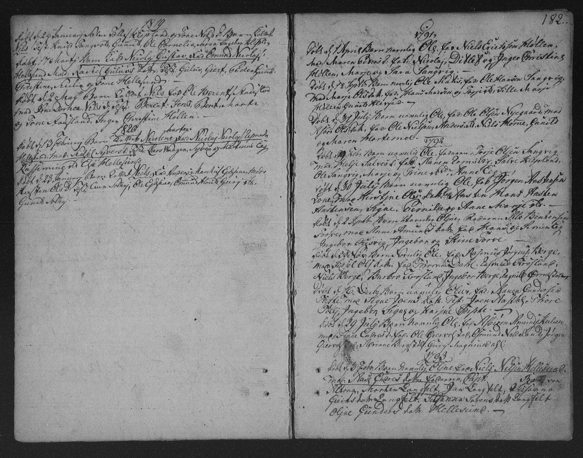 SAK, Søgne sokneprestkontor, F/Fa/Fab/L0005: Ministerialbok nr. A 5, 1791-1820, s. 182