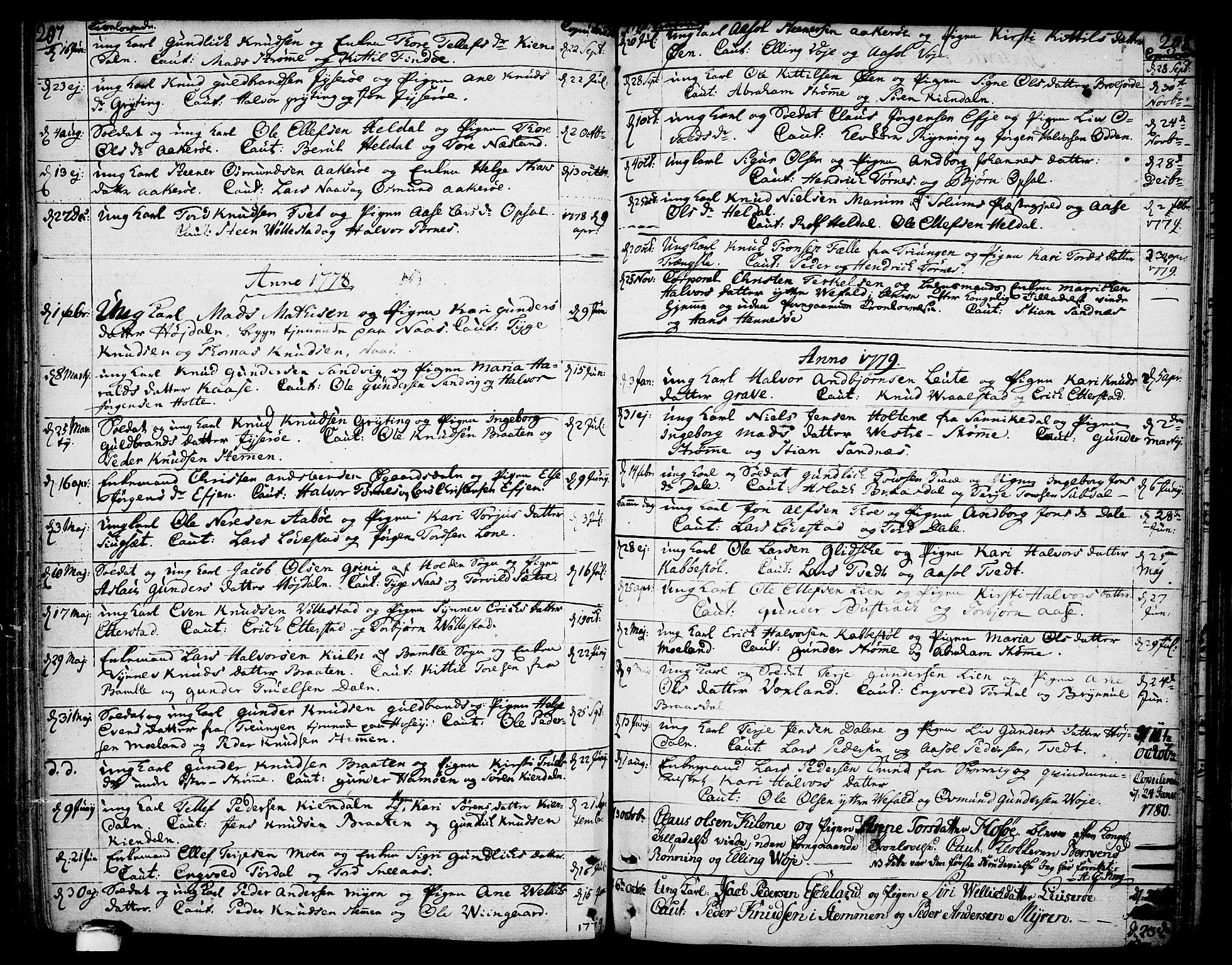 SAKO, Drangedal kirkebøker, F/Fa/L0003: Ministerialbok nr. 3, 1768-1814, s. 207-208