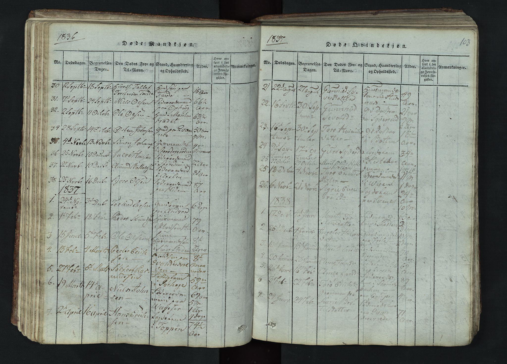 SAH, Lom prestekontor, L/L0002: Klokkerbok nr. 2, 1815-1844, s. 103