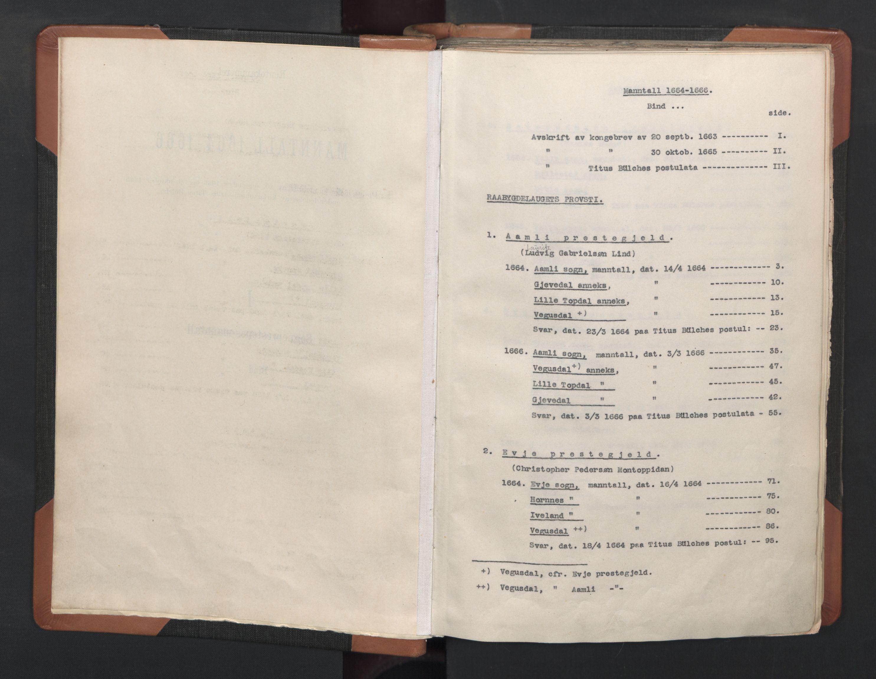 RA, Sogneprestenes manntall 1664-1666, nr. 14: Råbyggelag prosti, 1664-1666, s. upaginert