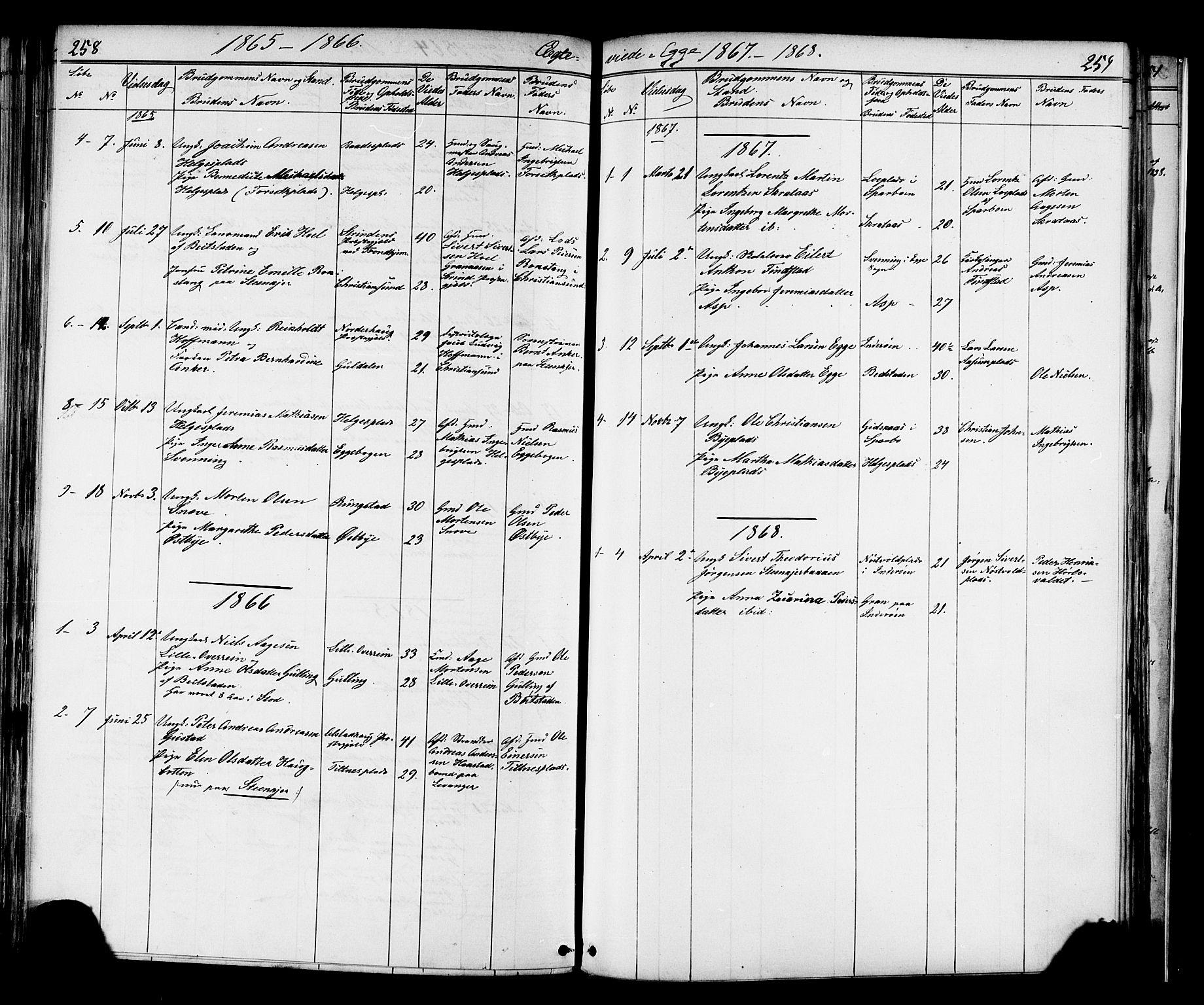 SAT, Ministerialprotokoller, klokkerbøker og fødselsregistre - Nord-Trøndelag, 739/L0367: Ministerialbok nr. 739A01 /3, 1838-1868, s. 258-259