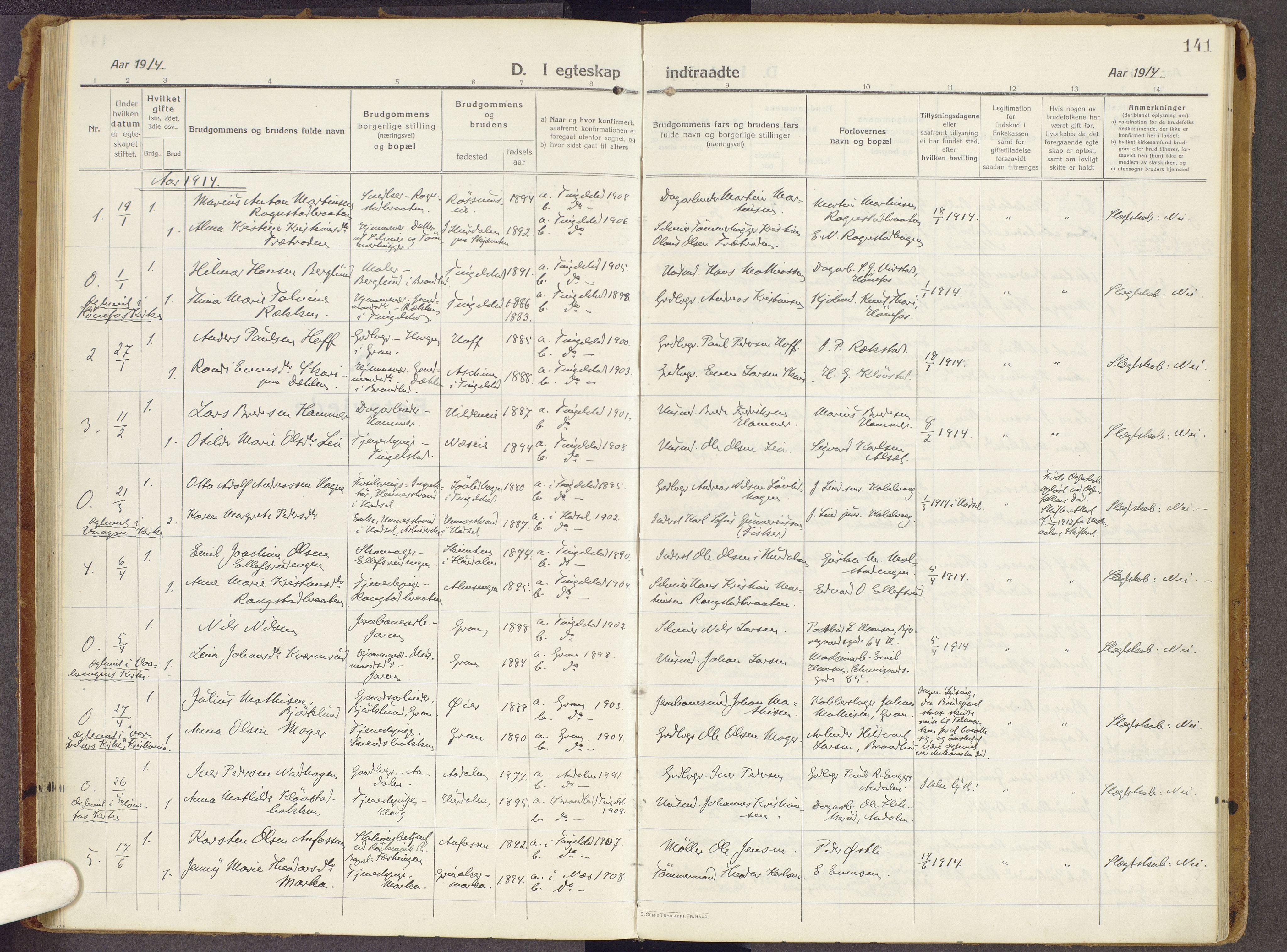 SAH, Brandbu prestekontor, Ministerialbok nr. 3, 1914-1928, s. 141