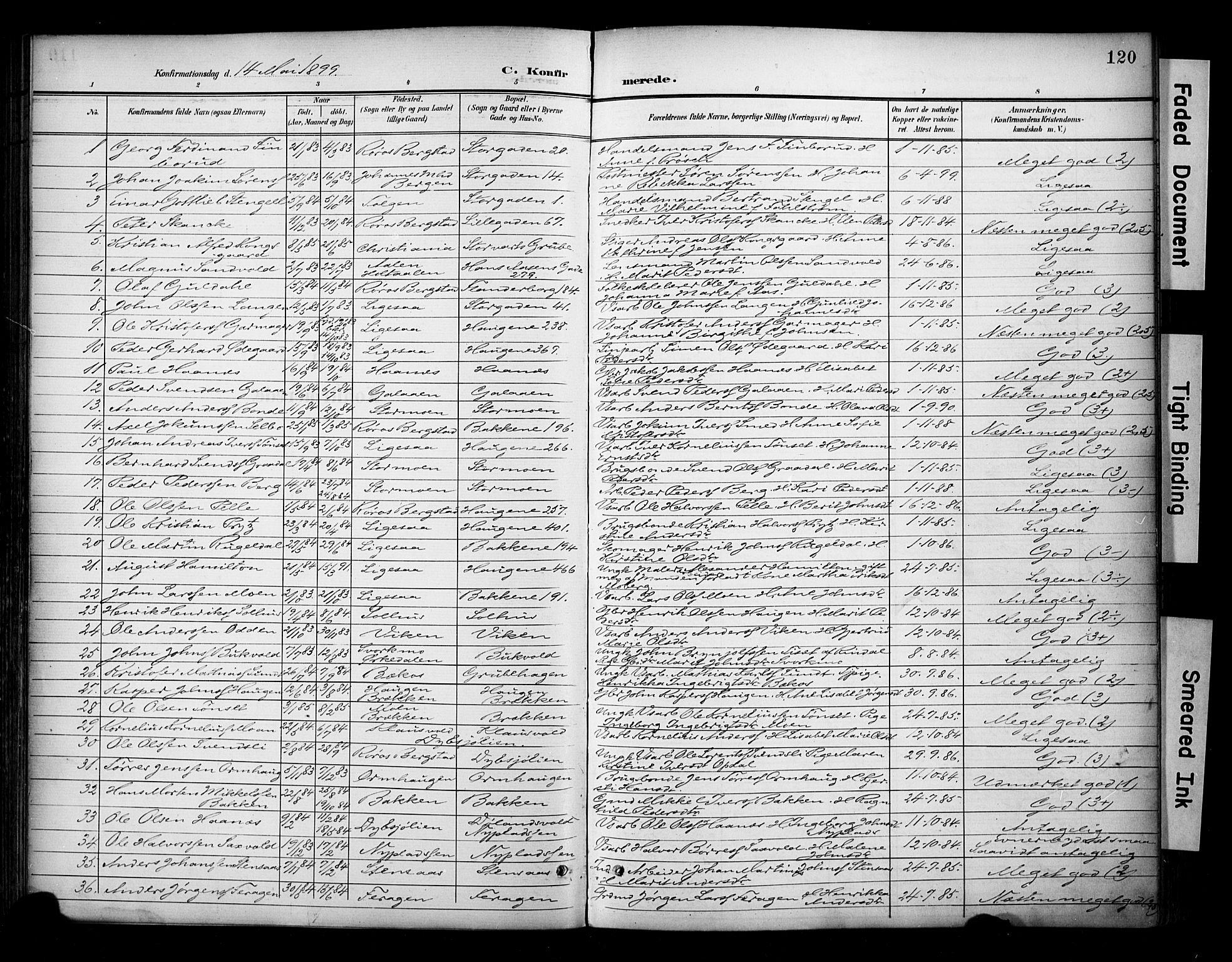SAT, Ministerialprotokoller, klokkerbøker og fødselsregistre - Sør-Trøndelag, 681/L0936: Ministerialbok nr. 681A14, 1899-1908, s. 120