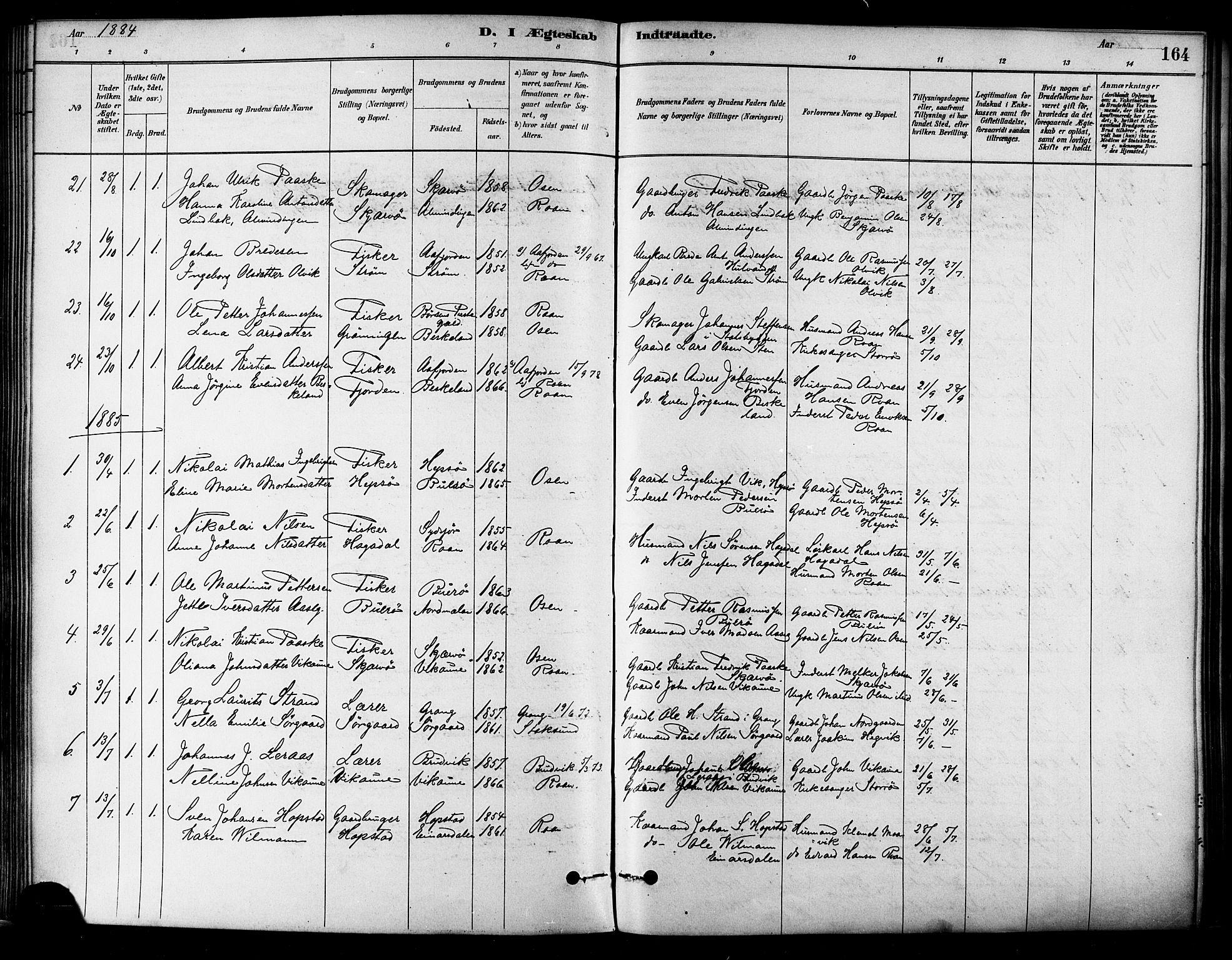 SAT, Ministerialprotokoller, klokkerbøker og fødselsregistre - Sør-Trøndelag, 657/L0707: Ministerialbok nr. 657A08, 1879-1893, s. 164