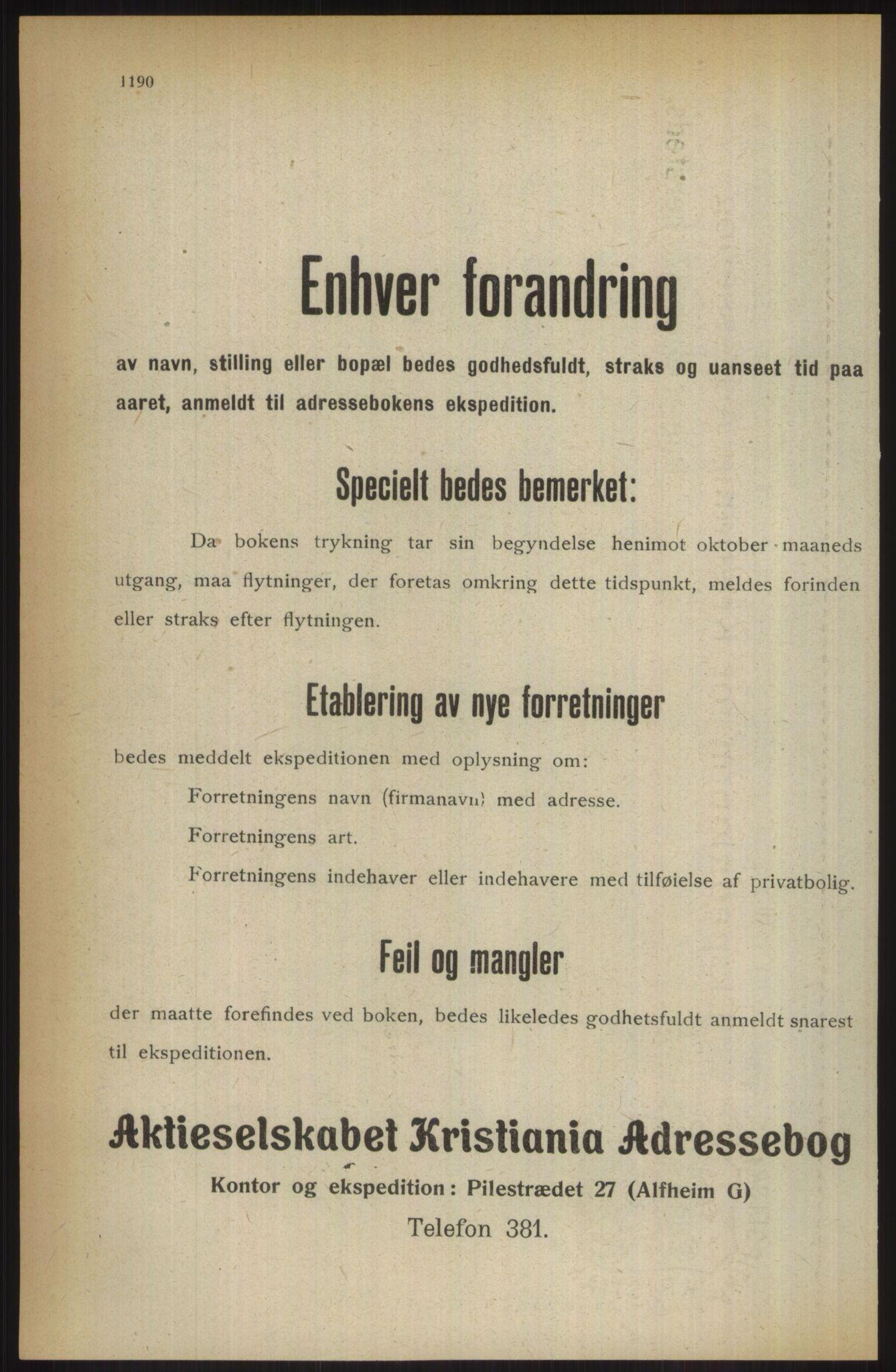 RA, Kristiania adressebok (publikasjon)*, 1914, s. 1190