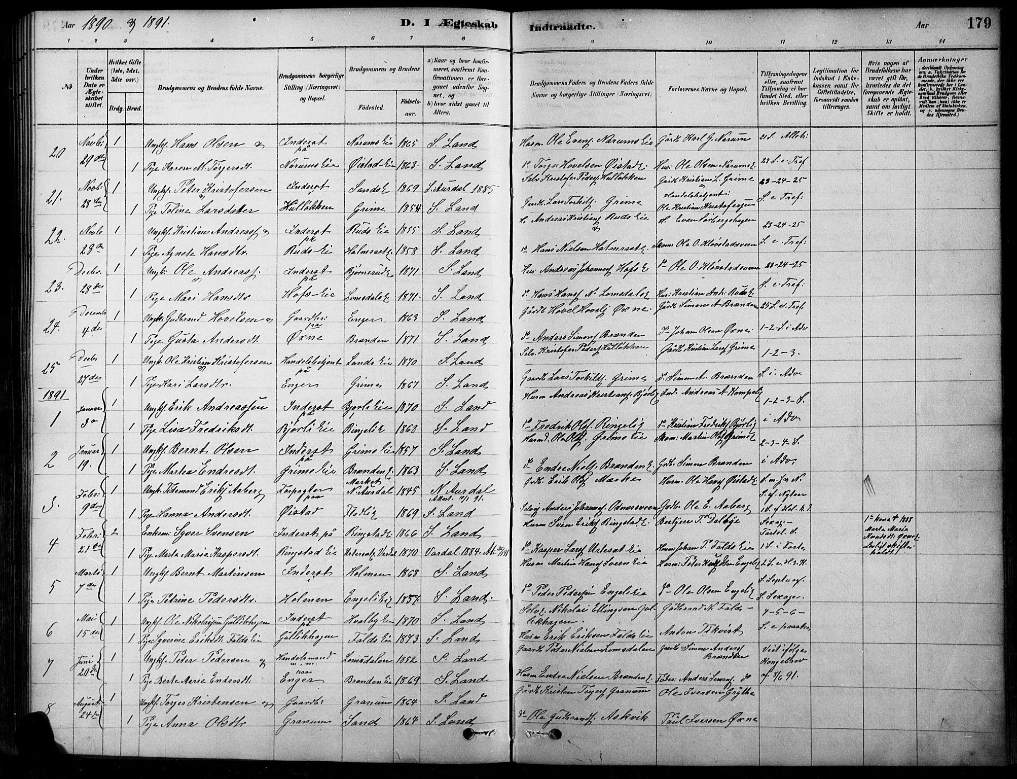 SAH, Søndre Land prestekontor, K/L0003: Ministerialbok nr. 3, 1878-1894, s. 179