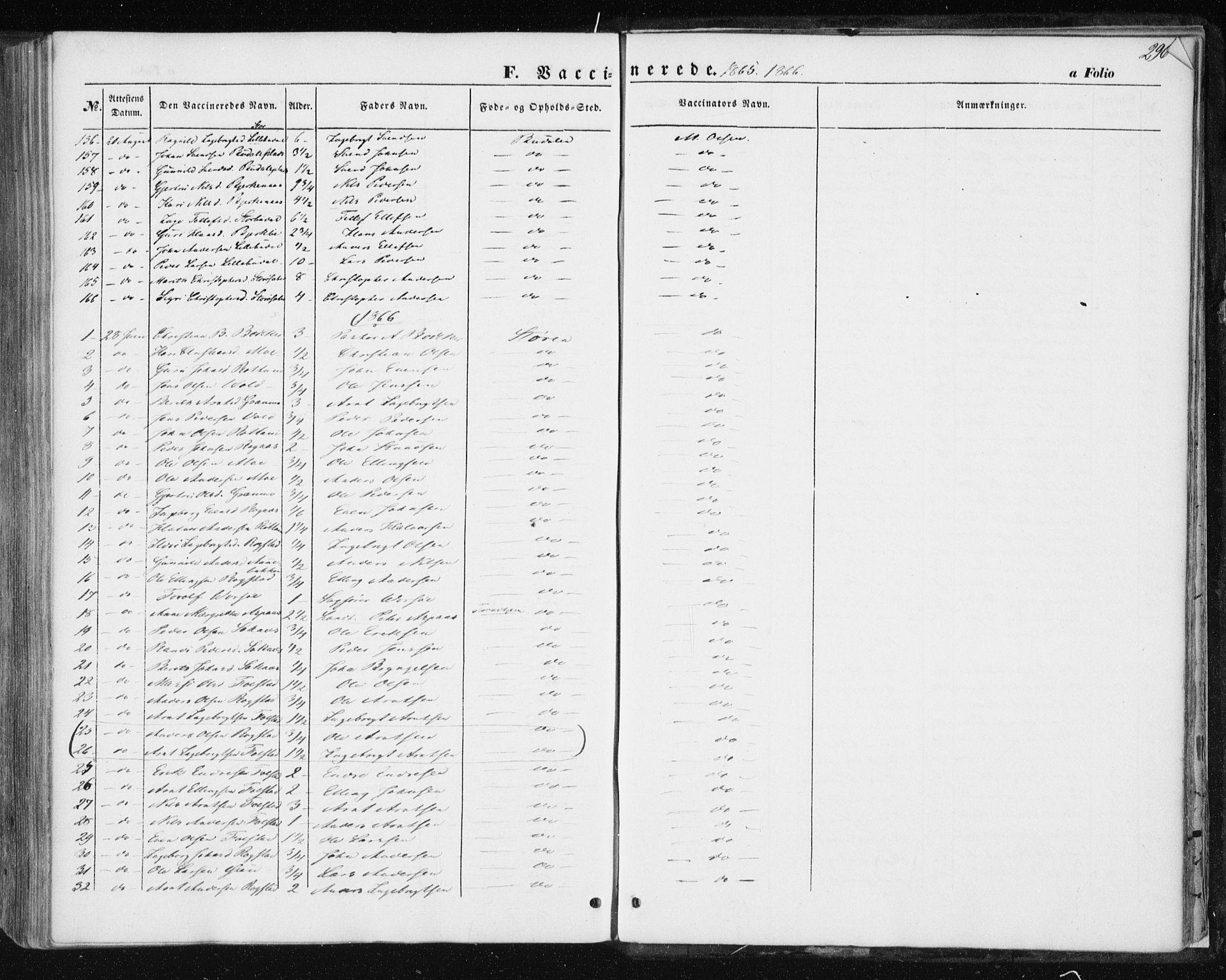 SAT, Ministerialprotokoller, klokkerbøker og fødselsregistre - Sør-Trøndelag, 687/L1000: Ministerialbok nr. 687A06, 1848-1869, s. 296