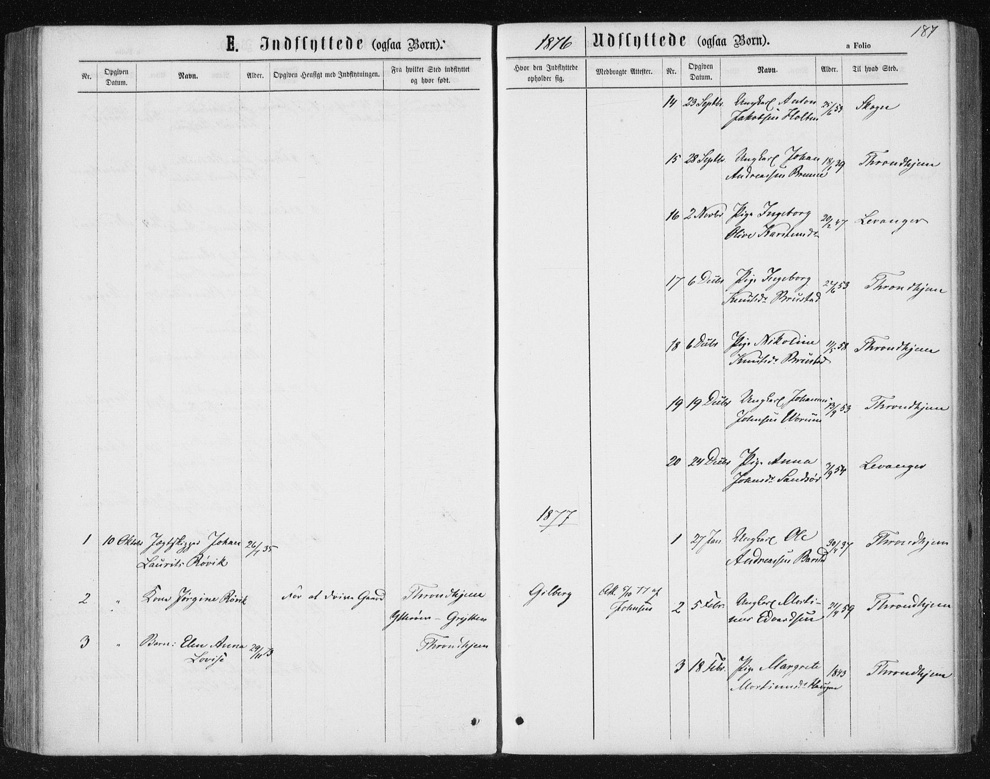 SAT, Ministerialprotokoller, klokkerbøker og fødselsregistre - Nord-Trøndelag, 722/L0219: Ministerialbok nr. 722A06, 1868-1880, s. 187