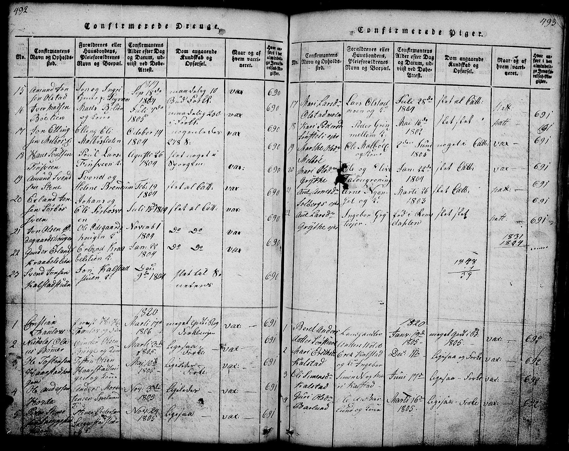 SAH, Gausdal prestekontor, Klokkerbok nr. 1, 1817-1848, s. 492-493