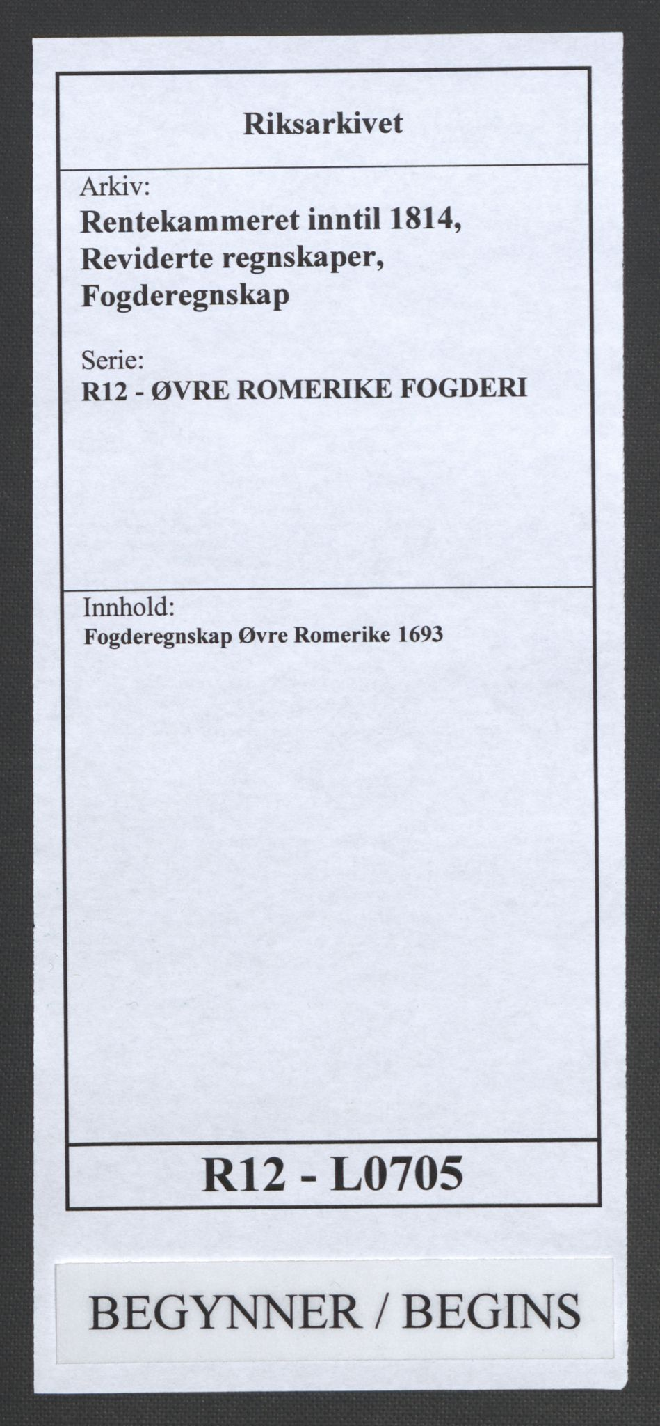 RA, Rentekammeret inntil 1814, Reviderte regnskaper, Fogderegnskap, R12/L0705: Fogderegnskap Øvre Romerike, 1693, s. 1