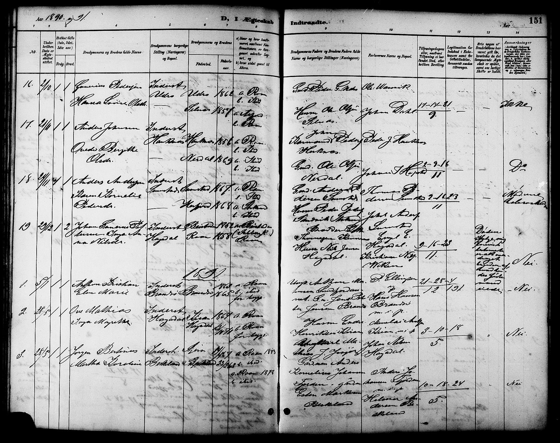 SAT, Ministerialprotokoller, klokkerbøker og fødselsregistre - Sør-Trøndelag, 657/L0716: Klokkerbok nr. 657C03, 1889-1904, s. 151