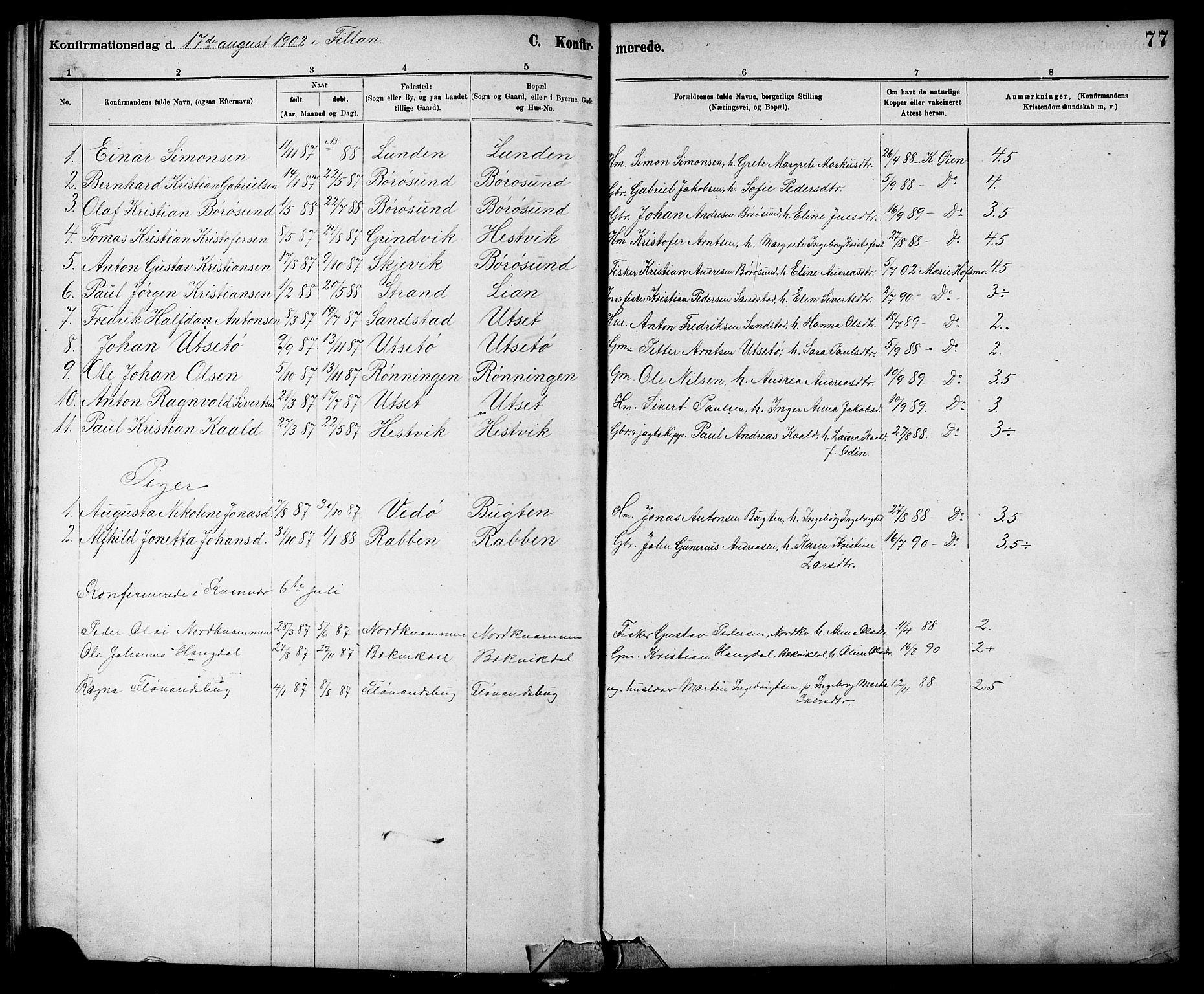 SAT, Ministerialprotokoller, klokkerbøker og fødselsregistre - Sør-Trøndelag, 639/L0573: Klokkerbok nr. 639C01, 1890-1905, s. 77