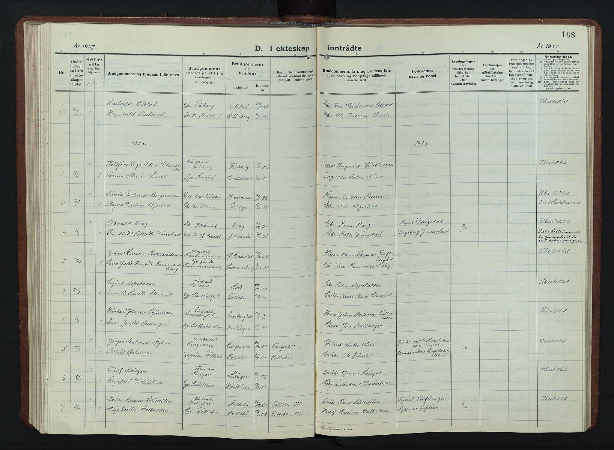 SAH, Vestre Gausdal prestekontor, Klokkerbok nr. 5, 1926-1955, s. 168