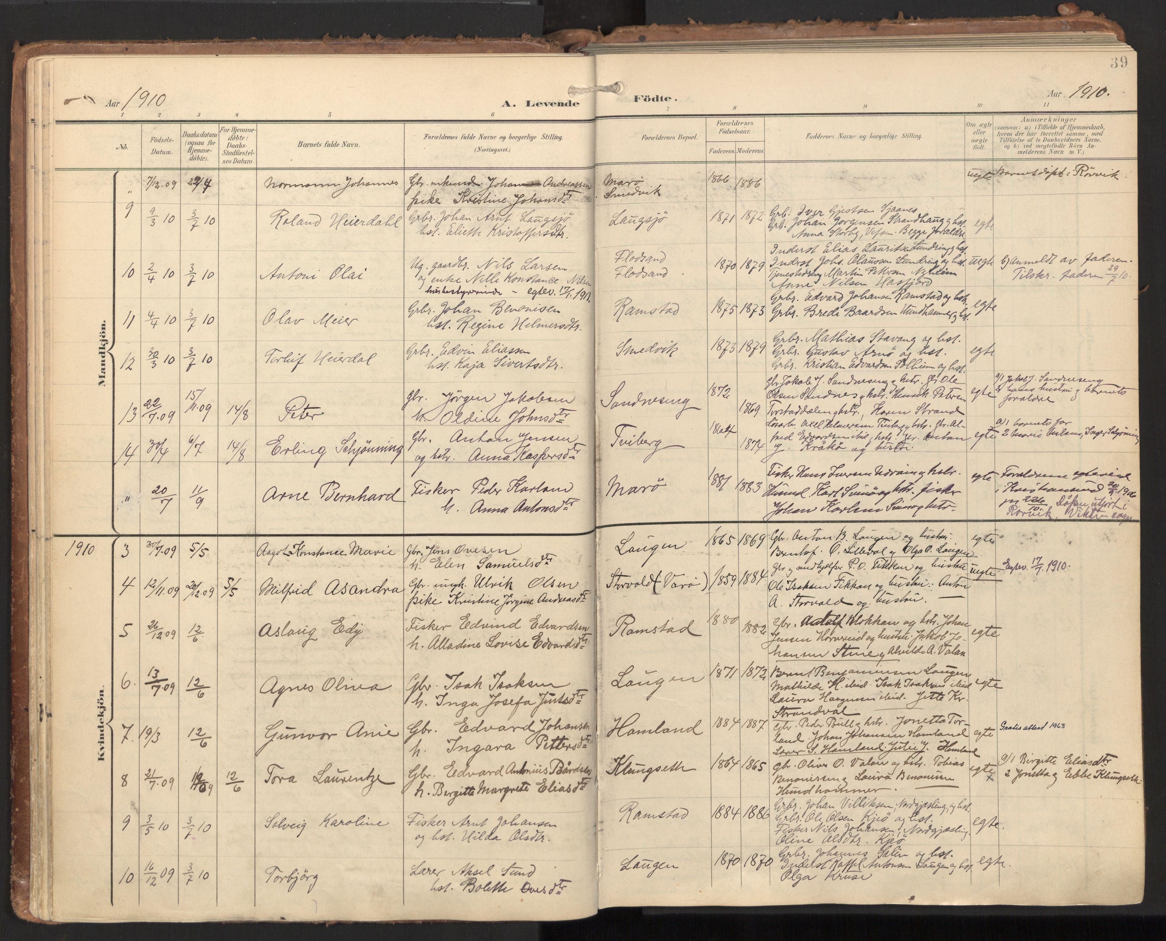 SAT, Ministerialprotokoller, klokkerbøker og fødselsregistre - Nord-Trøndelag, 784/L0677: Ministerialbok nr. 784A12, 1900-1920, s. 39