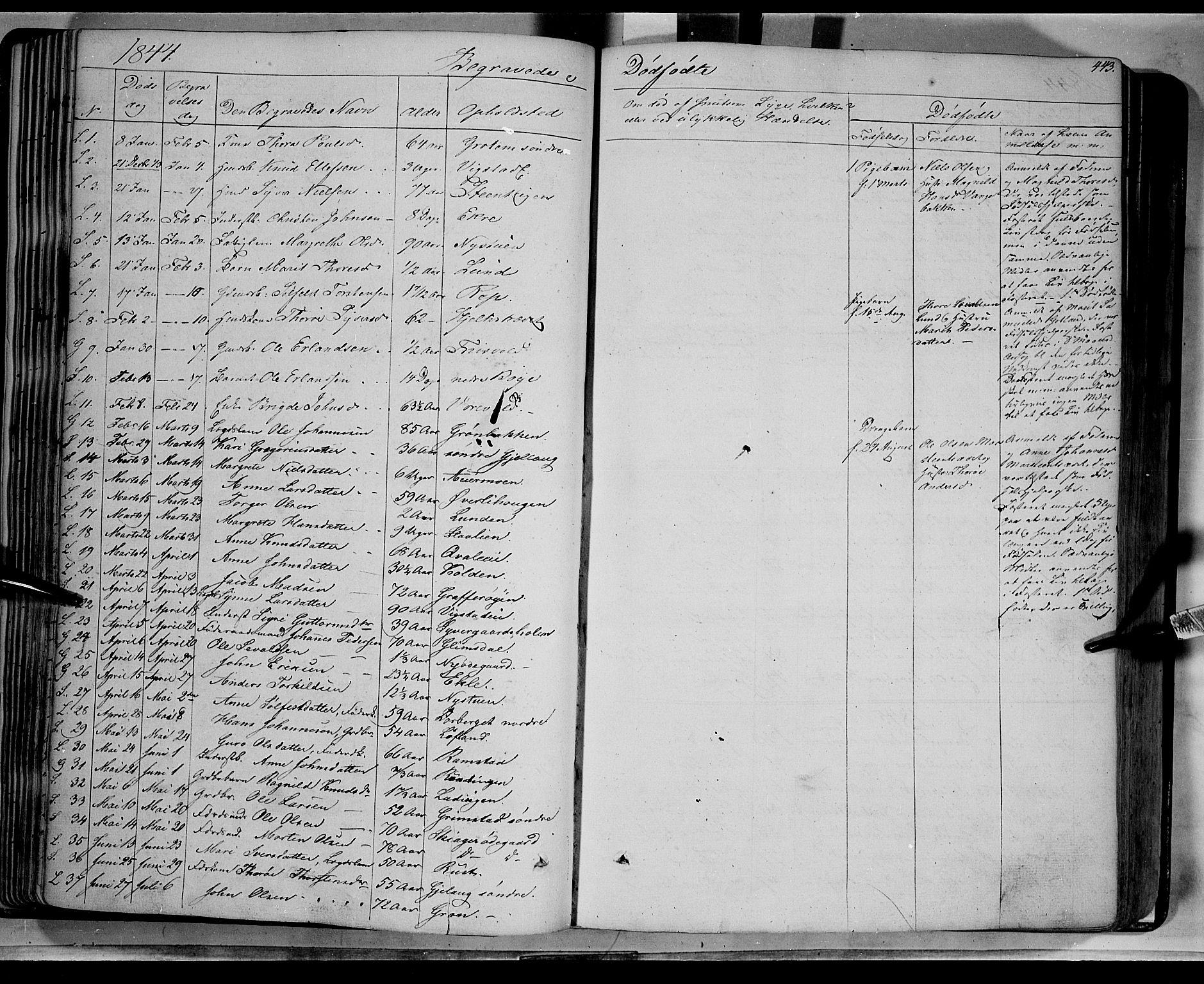 SAH, Lom prestekontor, K/L0006: Ministerialbok nr. 6B, 1837-1863, s. 443