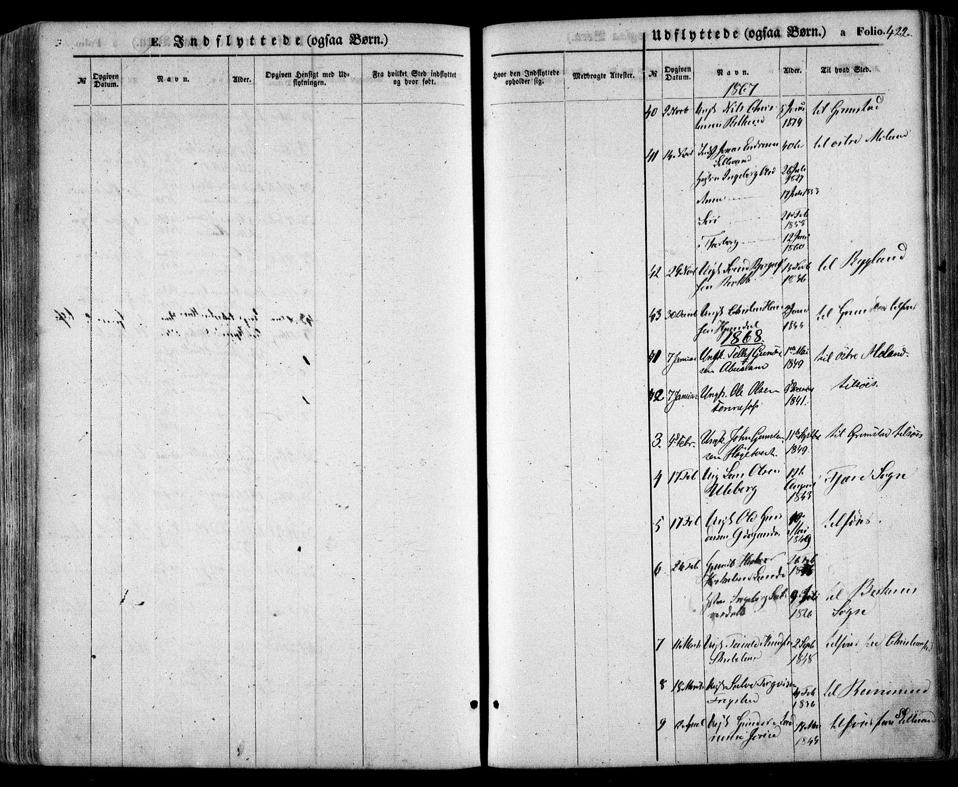 SAK, Evje sokneprestkontor, F/Fa/Faa/L0006: Ministerialbok nr. A 6, 1866-1884, s. 422