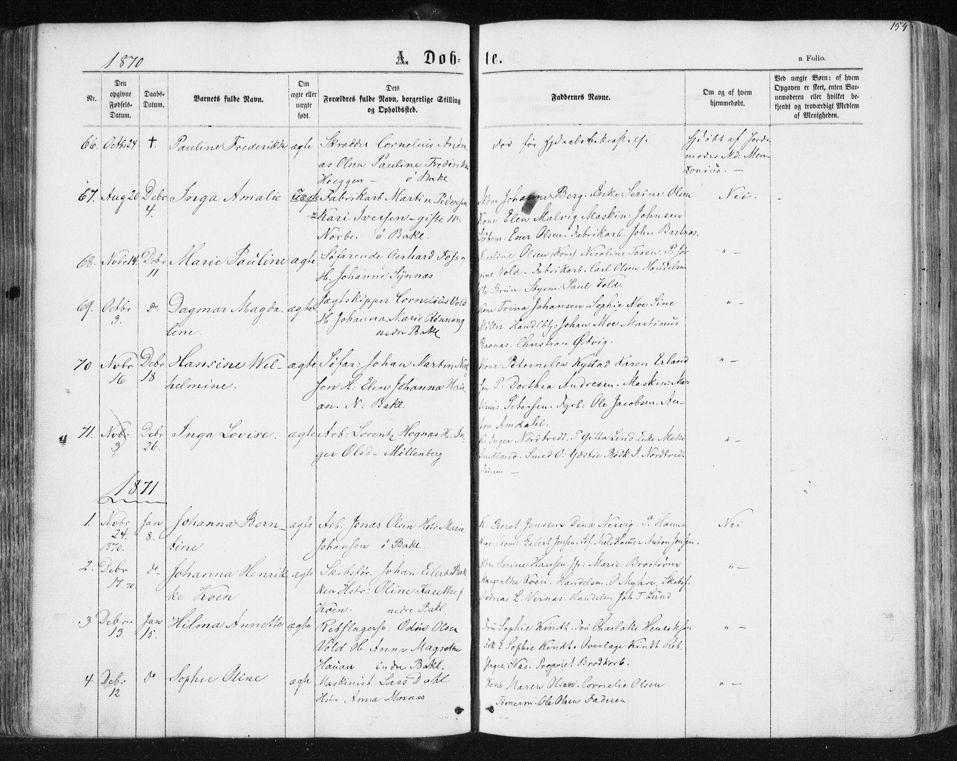 SAT, Ministerialprotokoller, klokkerbøker og fødselsregistre - Sør-Trøndelag, 604/L0186: Ministerialbok nr. 604A07, 1866-1877, s. 154