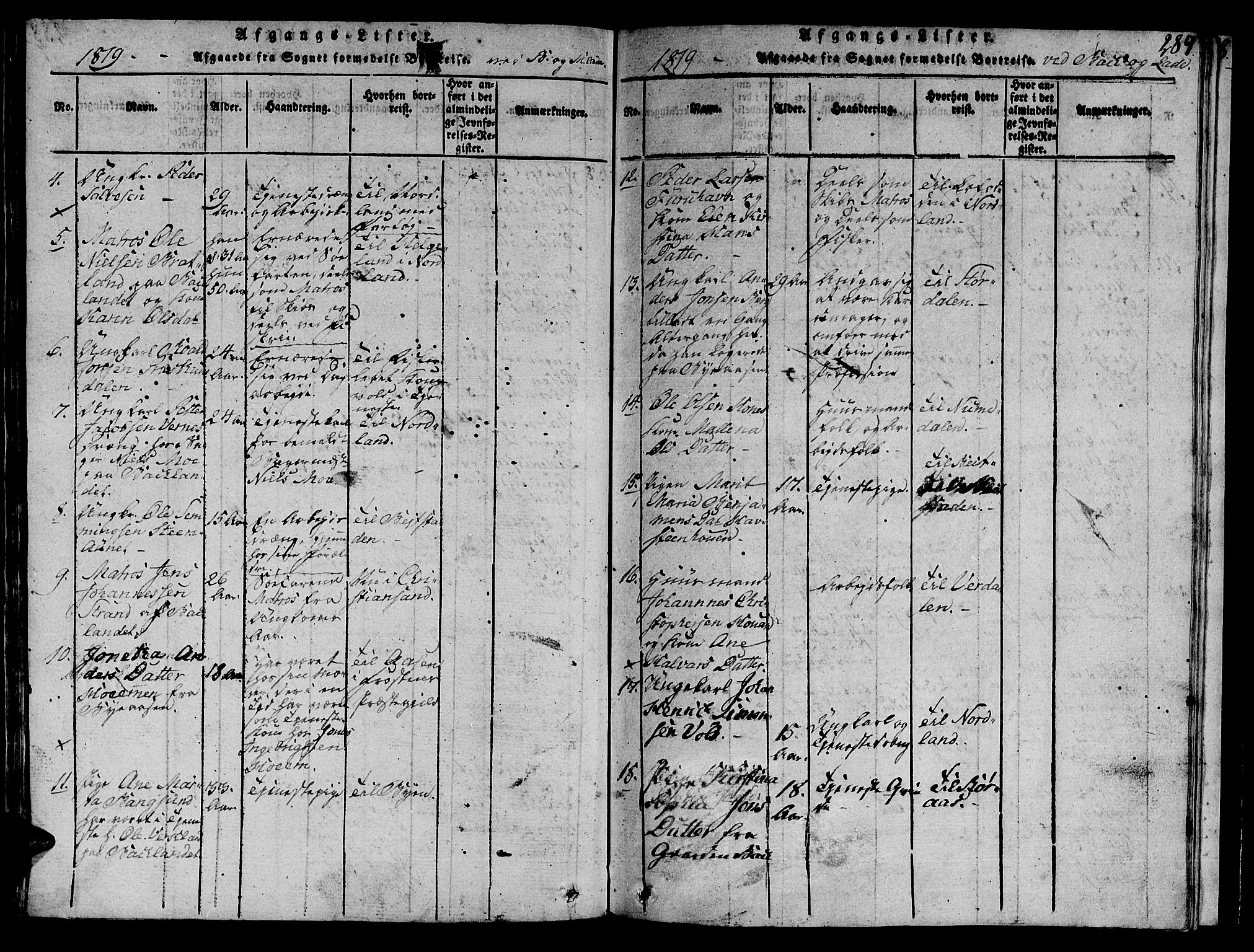 SAT, Ministerialprotokoller, klokkerbøker og fødselsregistre - Sør-Trøndelag, 606/L0307: Klokkerbok nr. 606C03, 1817-1824, s. 289