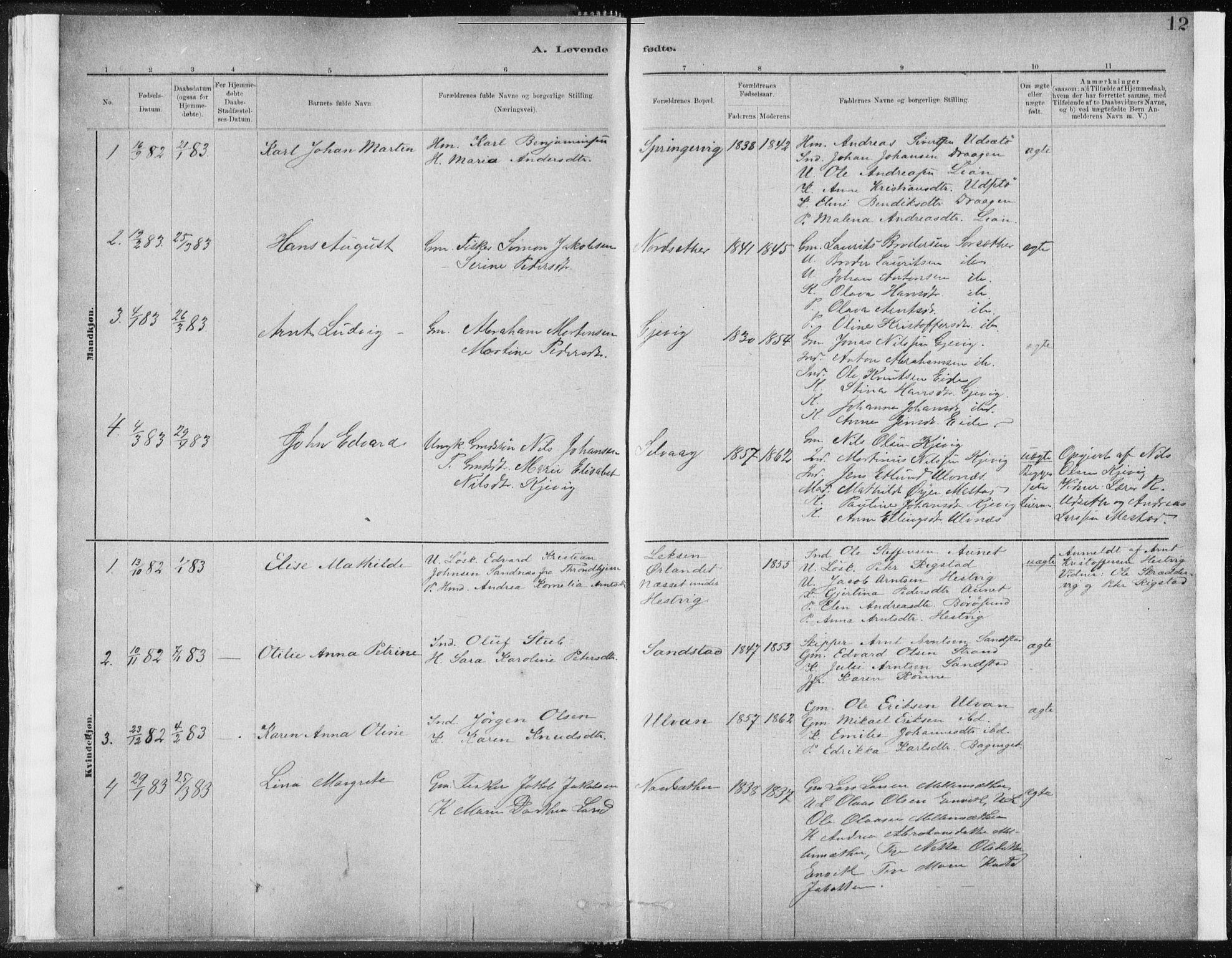 SAT, Ministerialprotokoller, klokkerbøker og fødselsregistre - Sør-Trøndelag, 637/L0558: Ministerialbok nr. 637A01, 1882-1899, s. 12
