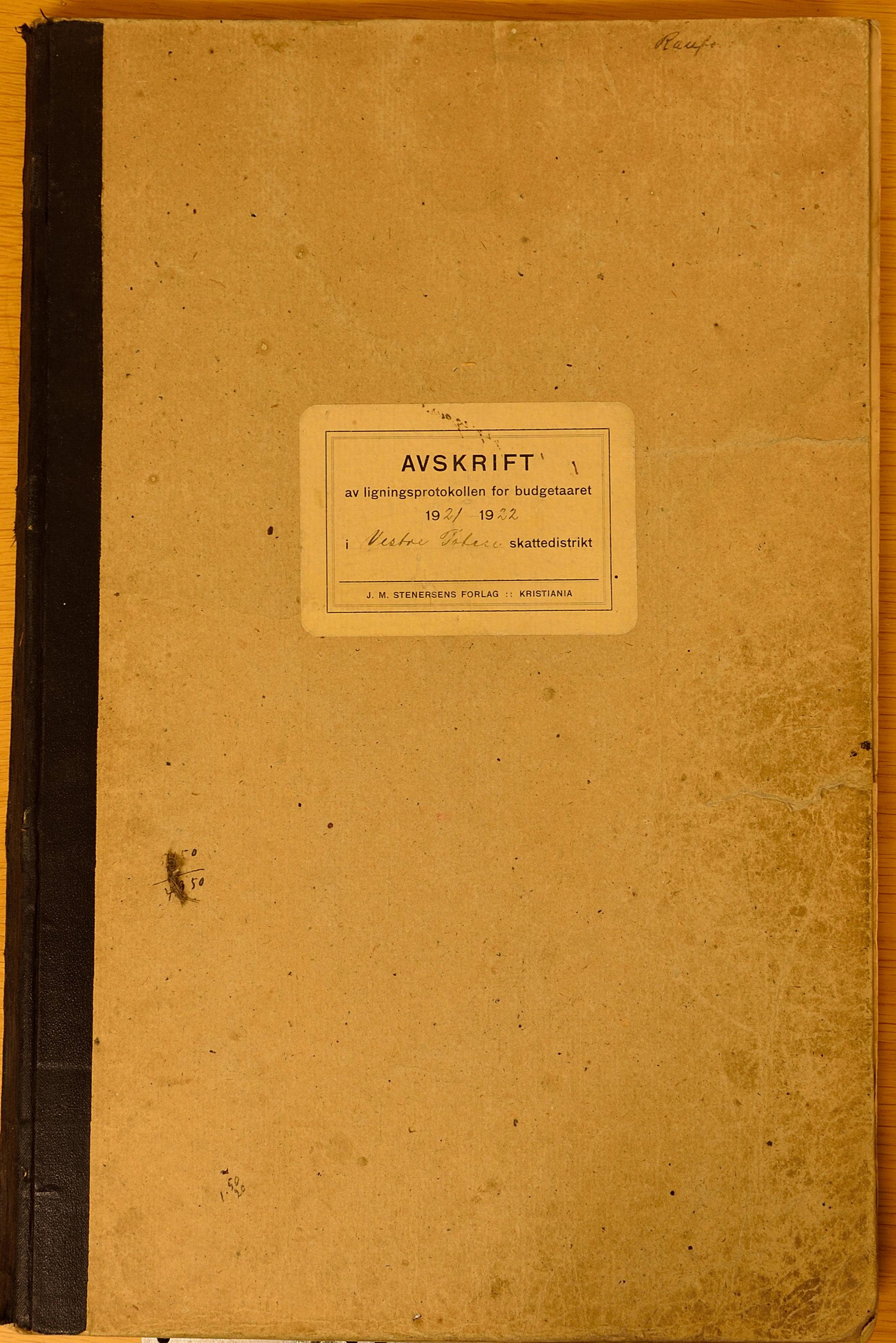 KVT, Vestre Toten kommunearkiv*, -: Avskrift av ligningsprotokollen for budsjettåret 1921-1922 for Vestre Toten skattedistrikt, 1921-1922