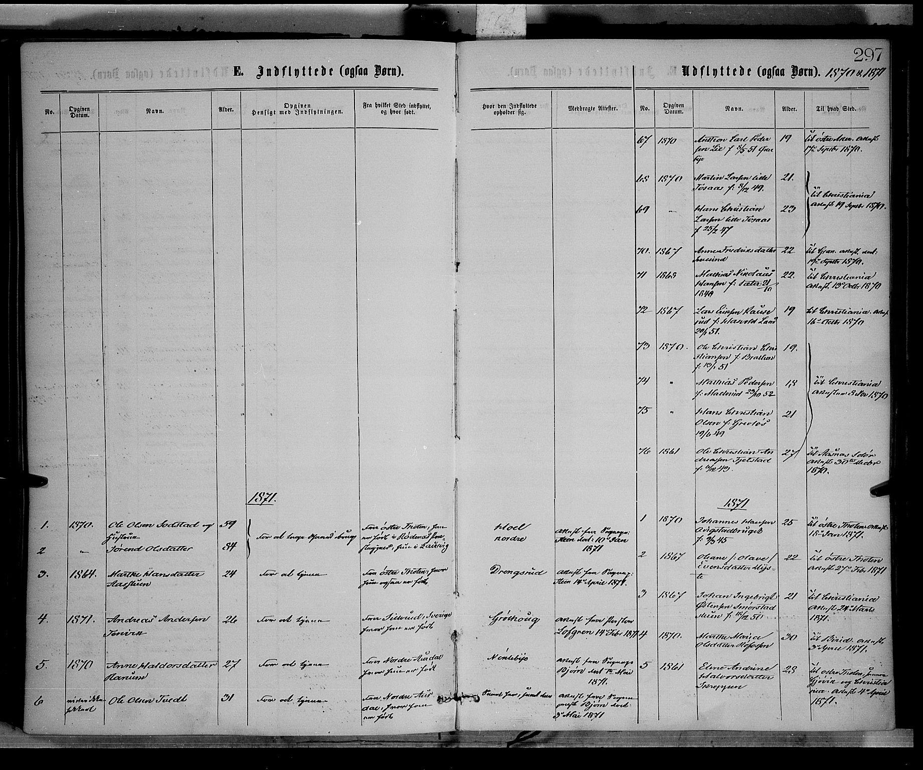 SAH, Vestre Toten prestekontor, Ministerialbok nr. 8, 1870-1877, s. 297