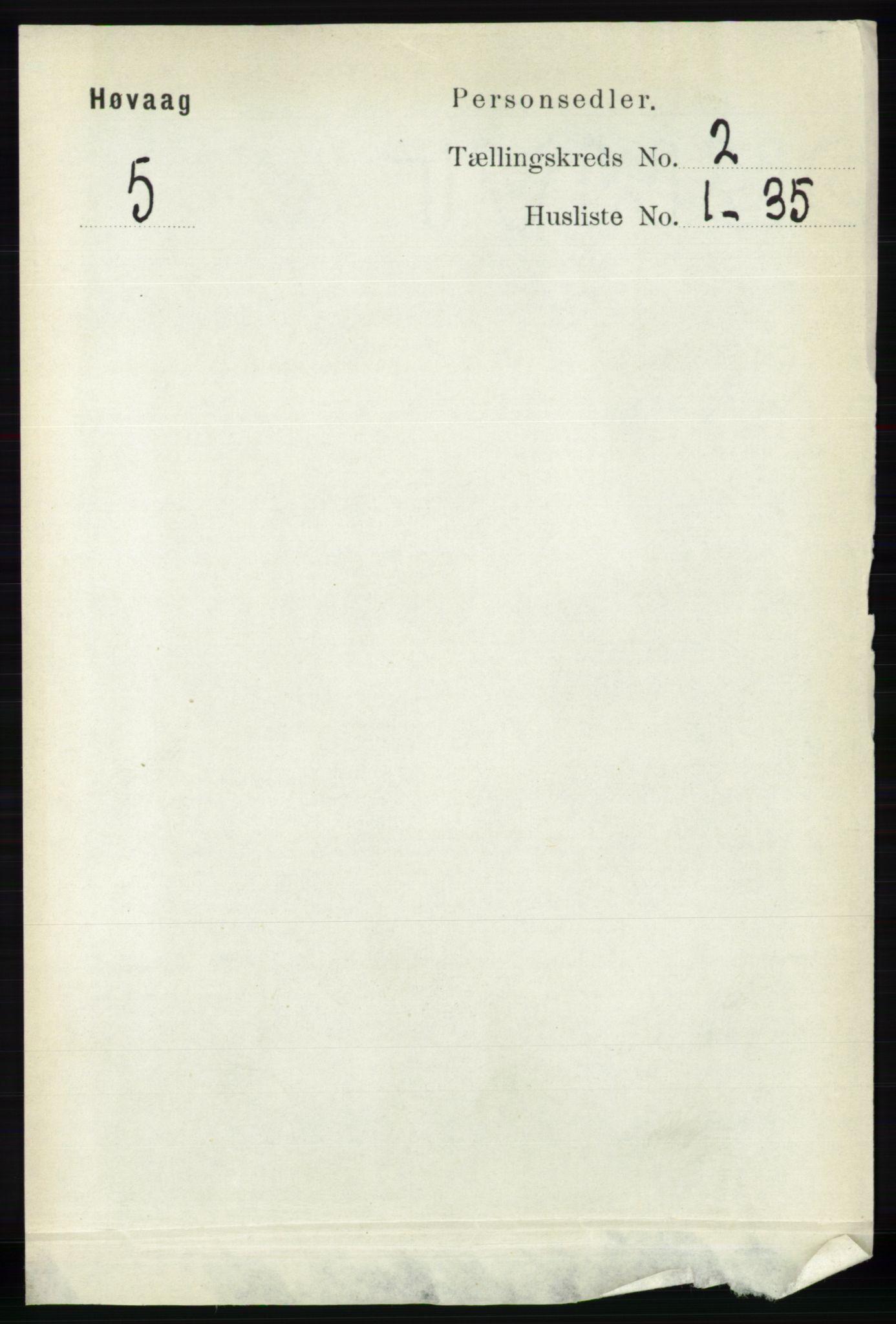 RA, Folketelling 1891 for 0927 Høvåg herred, 1891, s. 538