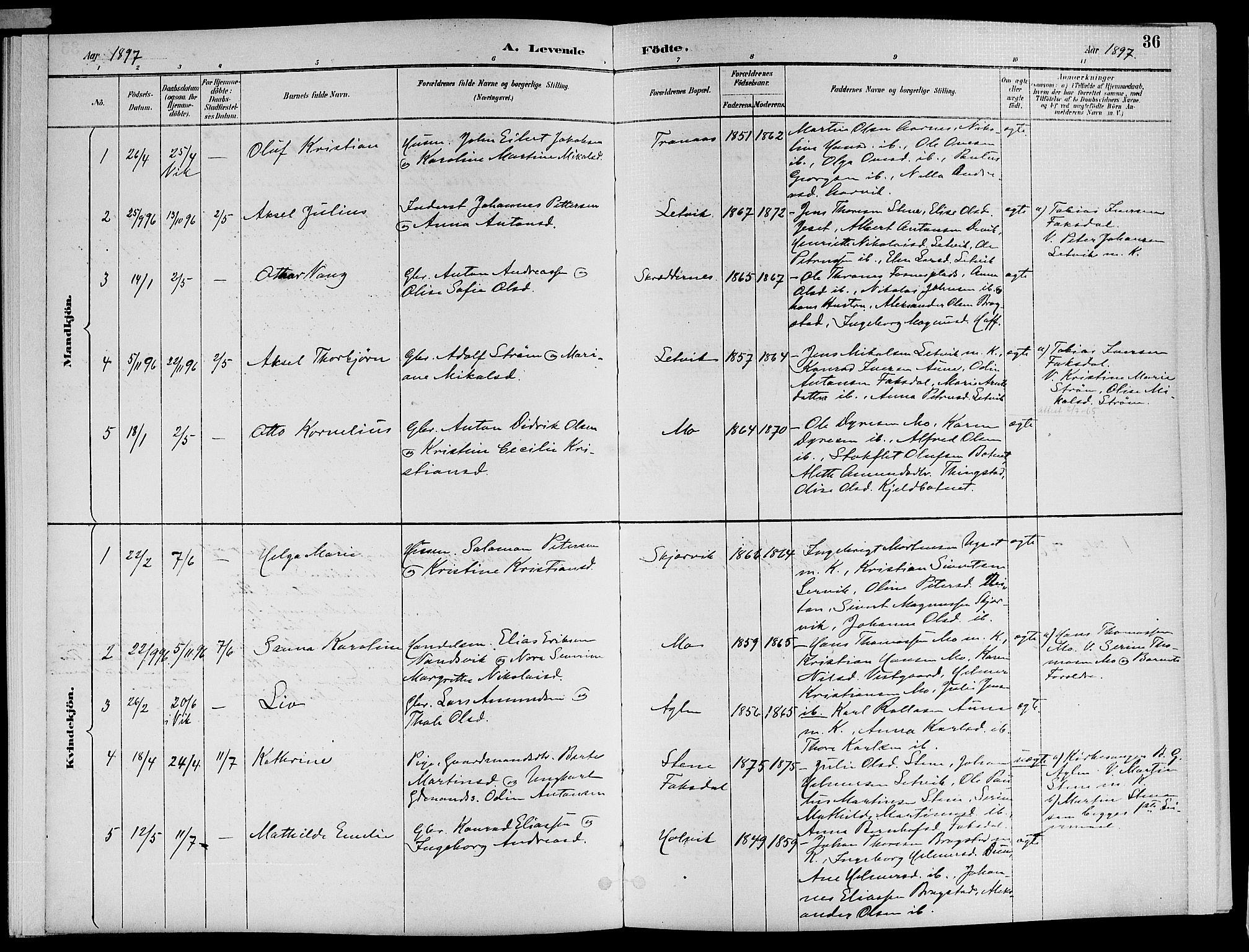 SAT, Ministerialprotokoller, klokkerbøker og fødselsregistre - Nord-Trøndelag, 773/L0617: Ministerialbok nr. 773A08, 1887-1910, s. 36