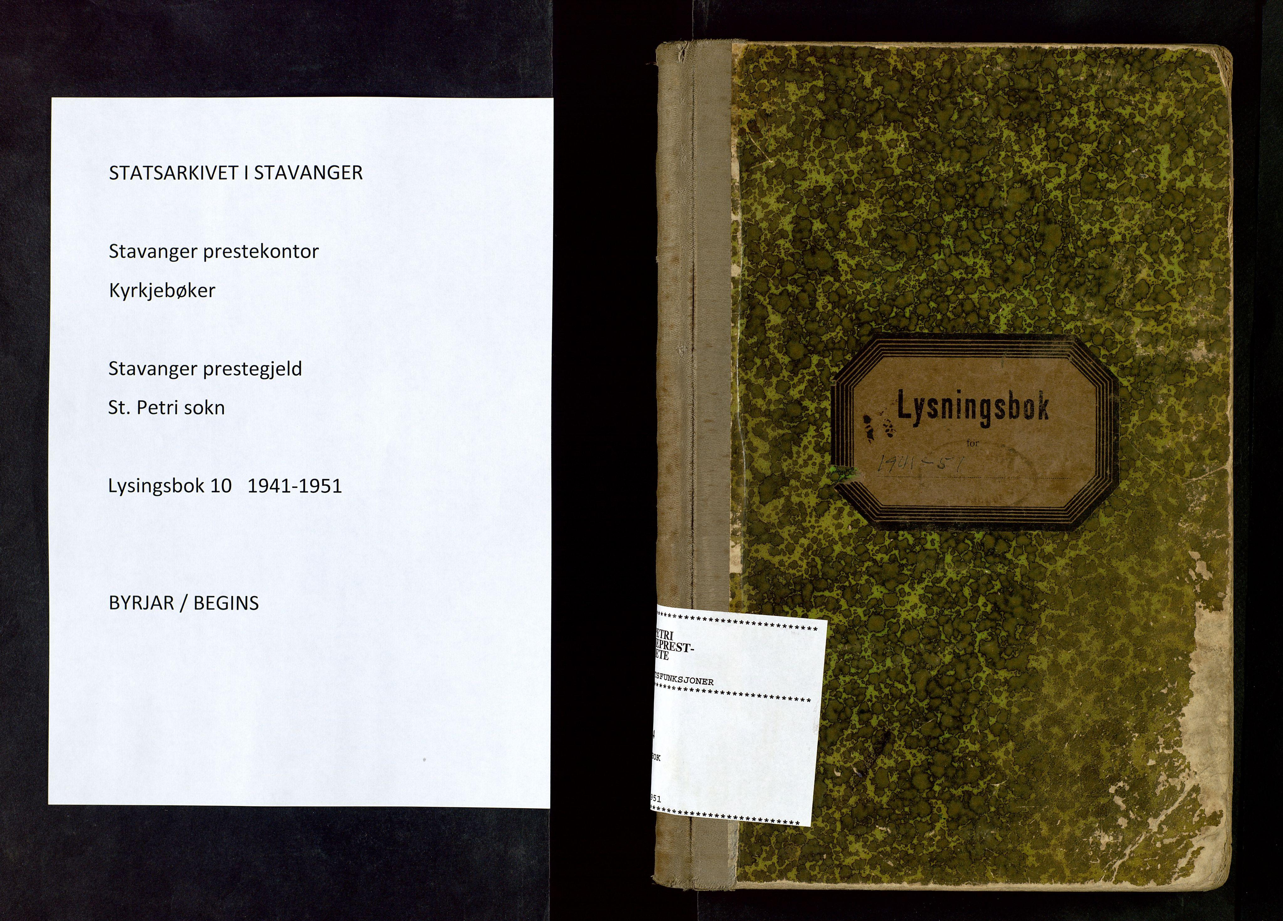 SAST, St. Petri sokneprestkontor, 70/705BA/L0010: Lysningsprotokoll nr. 10, 1941-1951