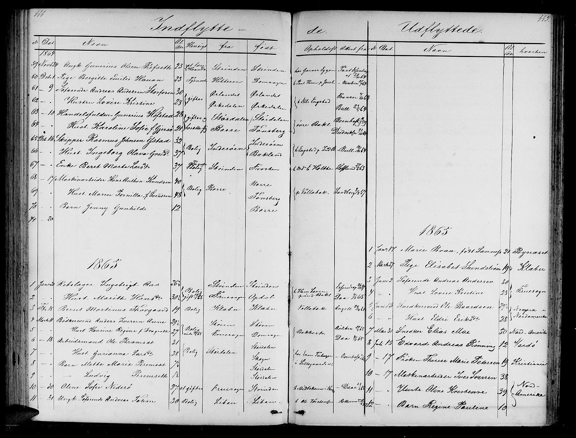 SAT, Ministerialprotokoller, klokkerbøker og fødselsregistre - Sør-Trøndelag, 604/L0219: Klokkerbok nr. 604C02, 1851-1869, s. 444-445