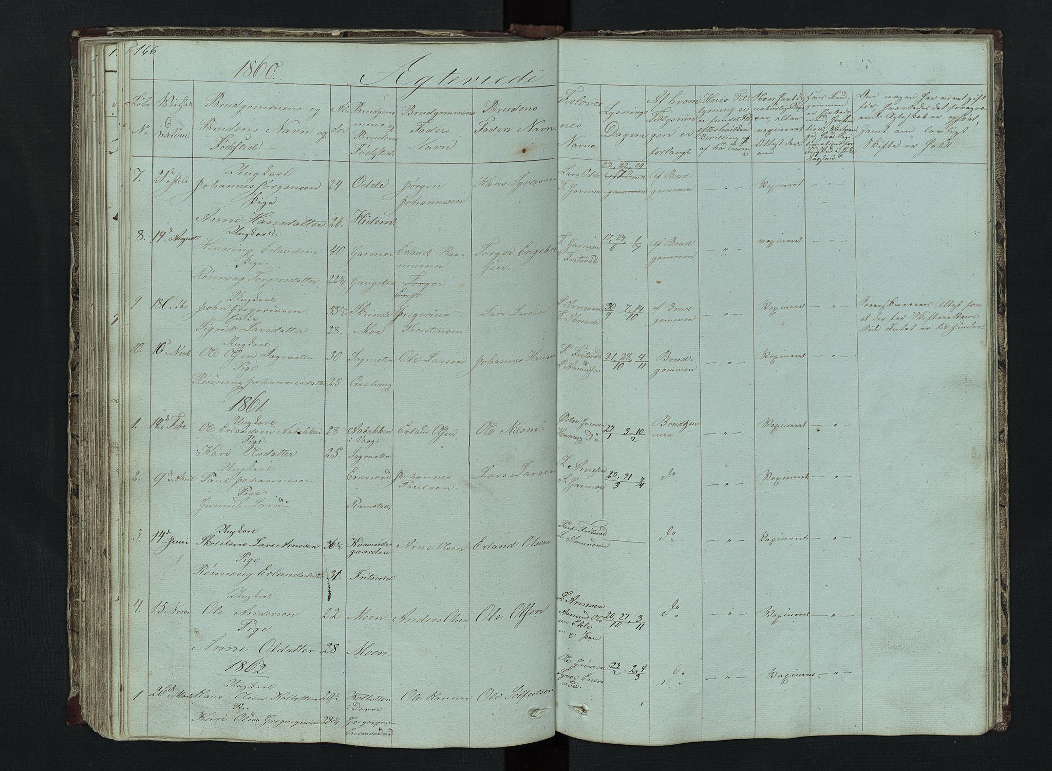 SAH, Lom prestekontor, L/L0014: Klokkerbok nr. 14, 1845-1876, s. 166-167