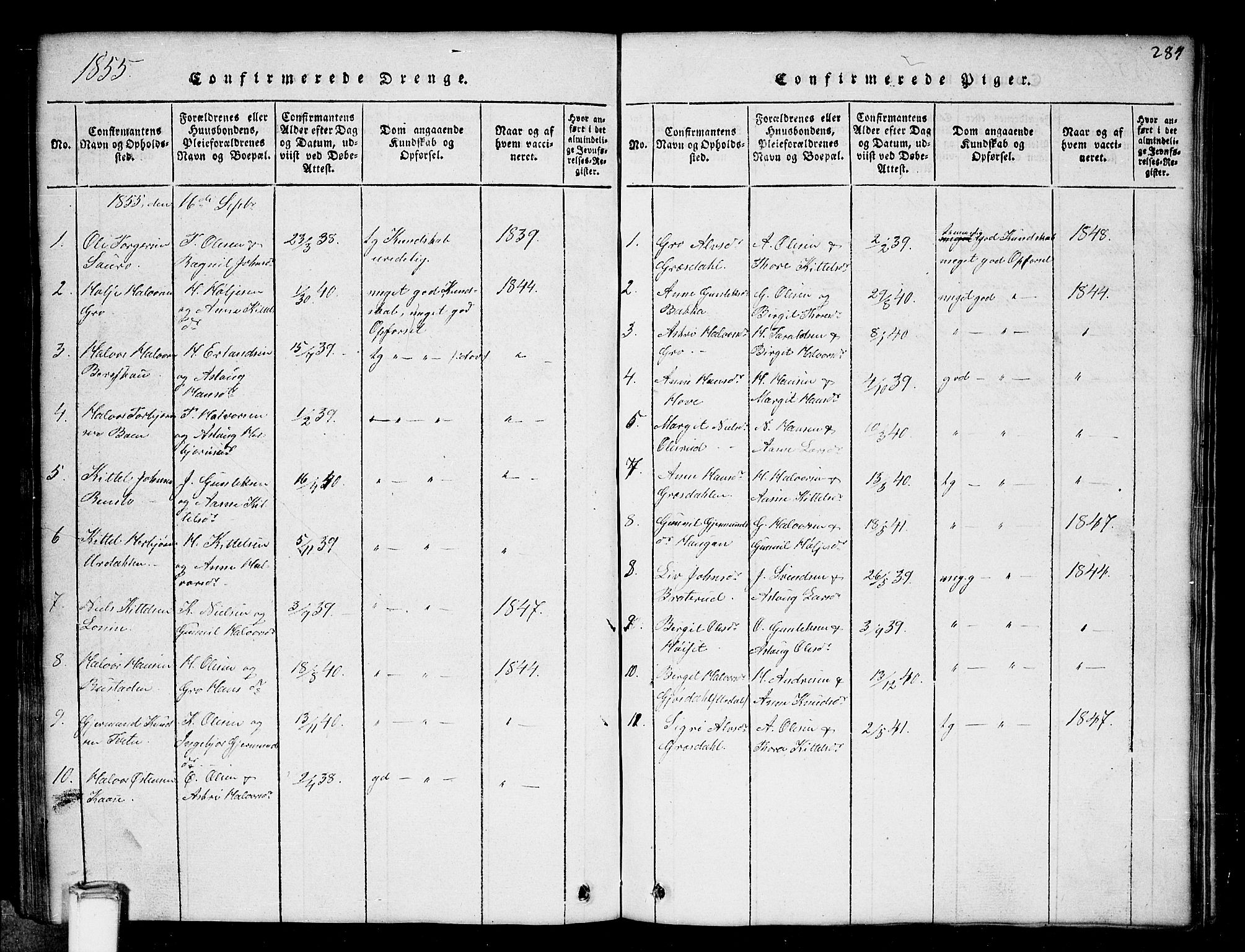 SAKO, Gransherad kirkebøker, G/Gb/L0001: Klokkerbok nr. II 1, 1815-1860, s. 284