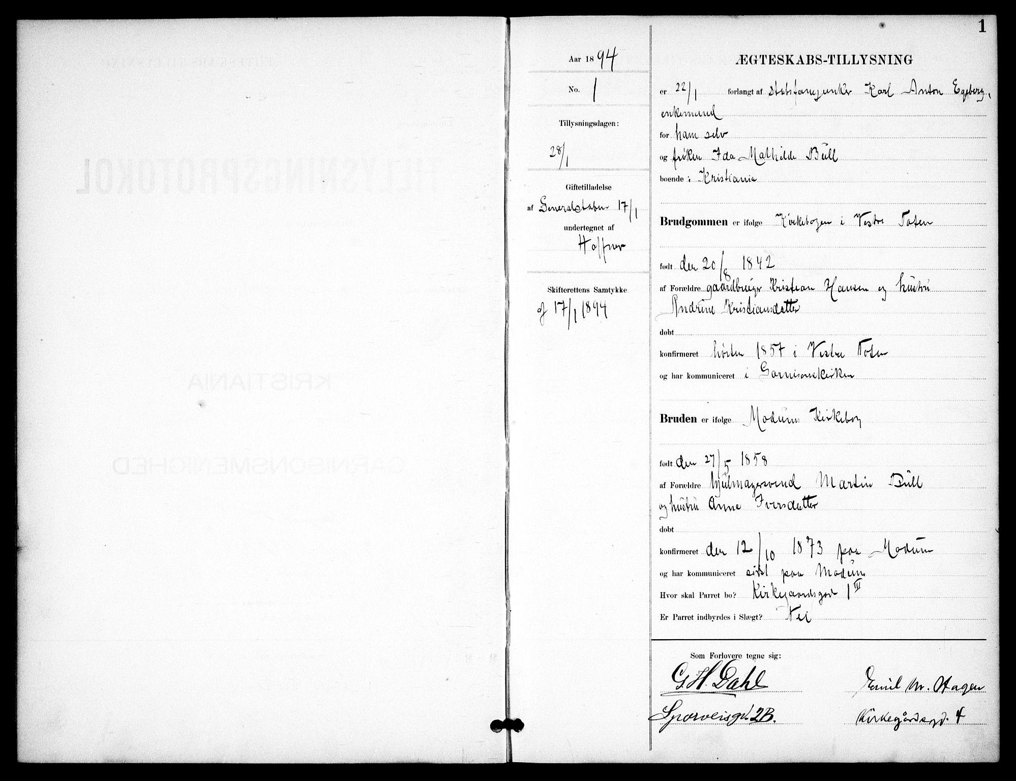 SAO, Garnisonsmenigheten Kirkebøker, H/Ha/L0008: Lysningsprotokoll nr. I 8, 1894-1908, s. 1