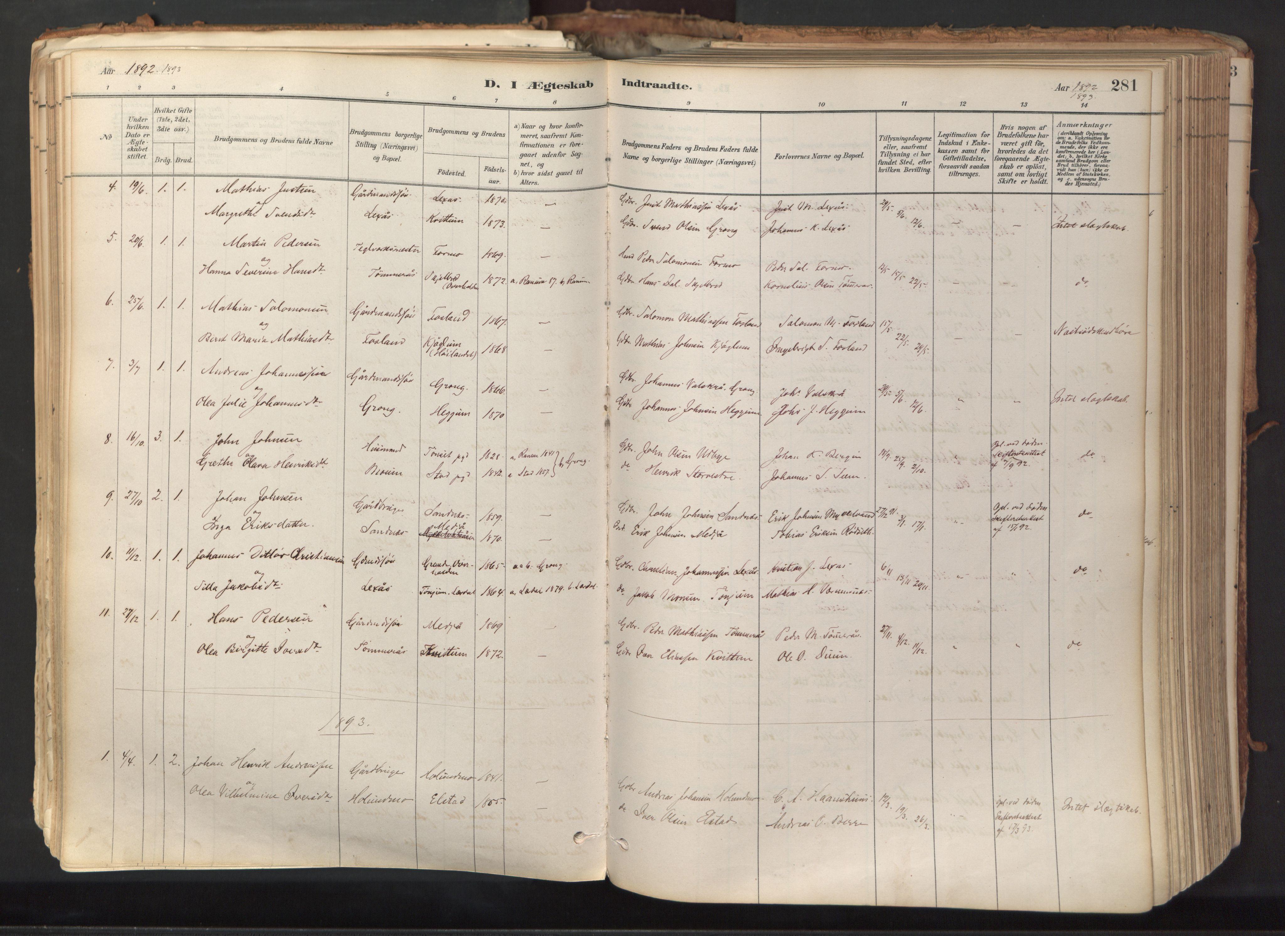 SAT, Ministerialprotokoller, klokkerbøker og fødselsregistre - Nord-Trøndelag, 758/L0519: Ministerialbok nr. 758A04, 1880-1926, s. 281