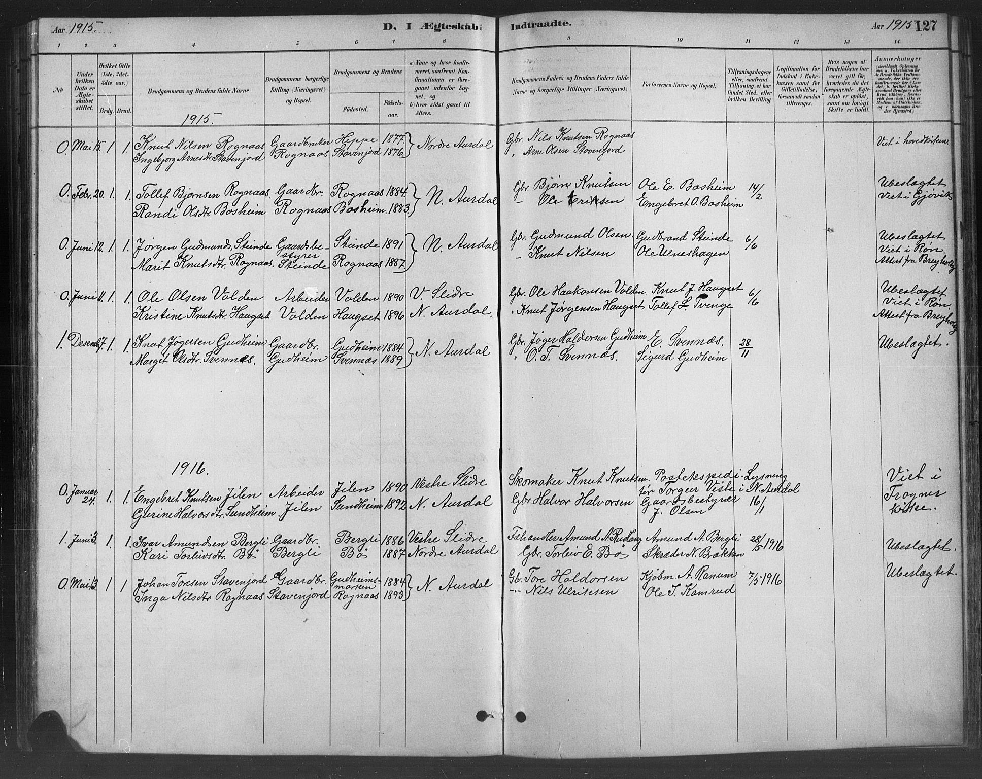 SAH, Nord-Aurdal prestekontor, Klokkerbok nr. 8, 1883-1916, s. 127
